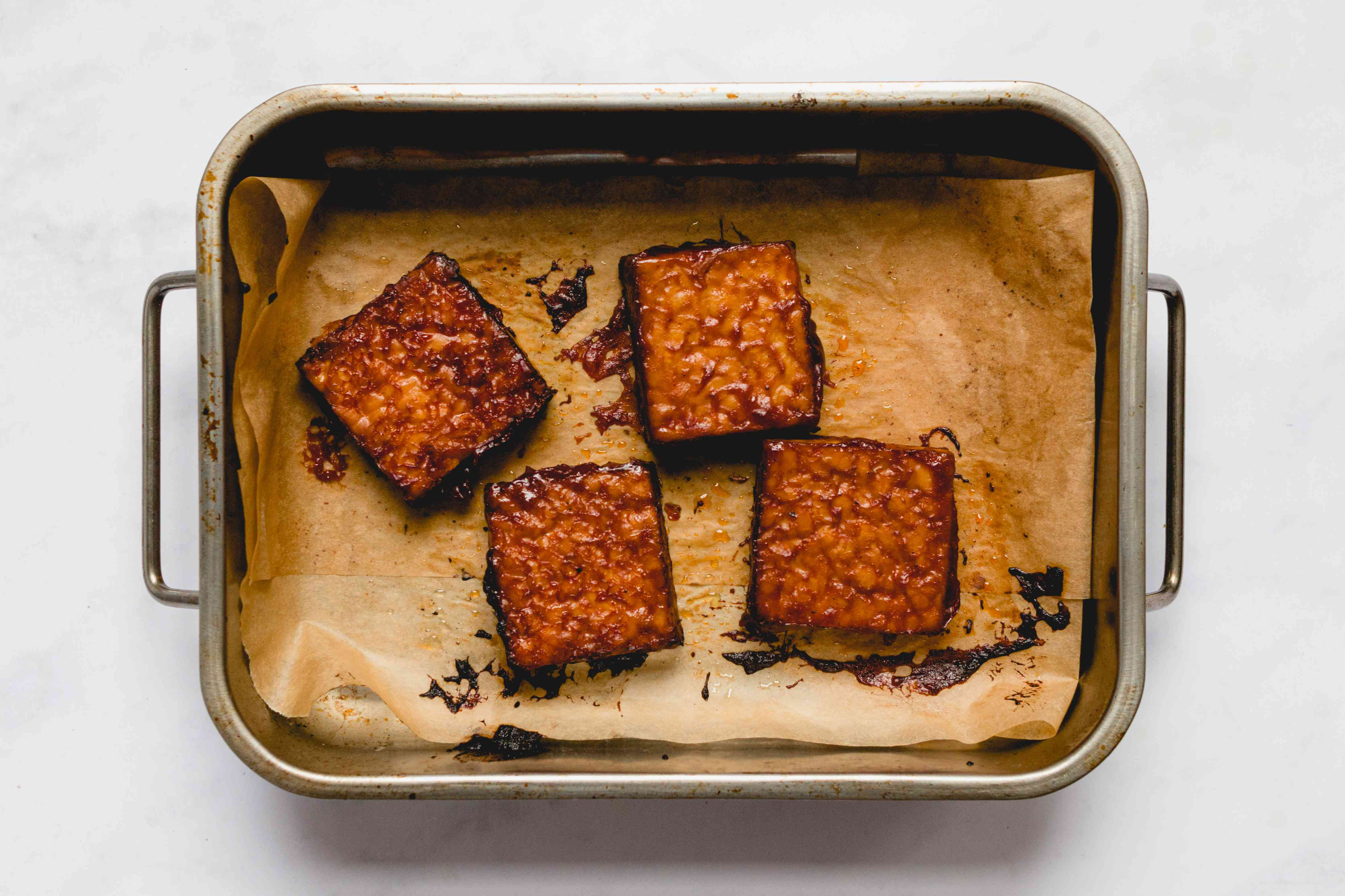 Vegan Barbecue Baked Tempeh in a baking dish