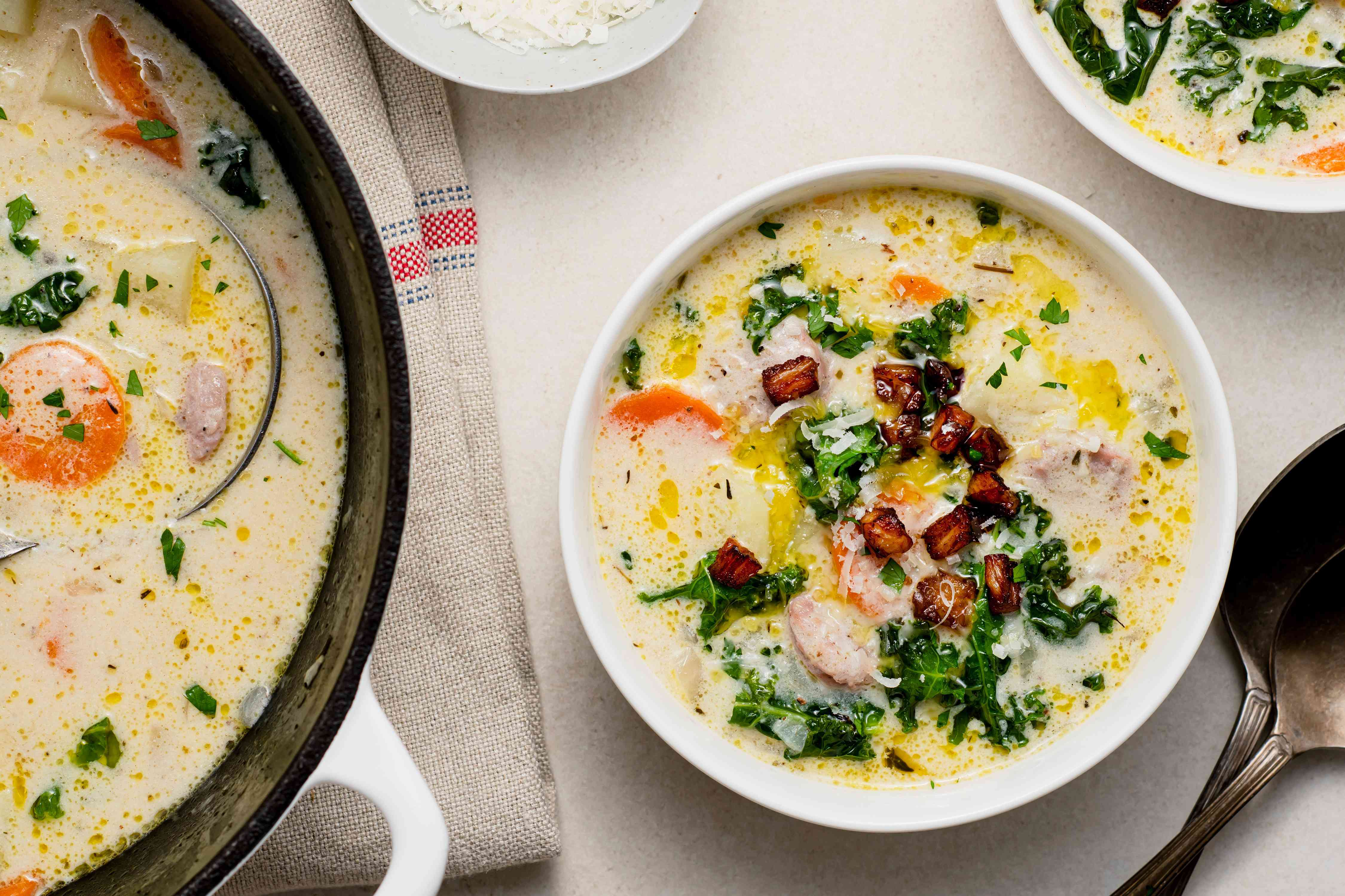 Sausage and Potato Soup With Kale in a bowl