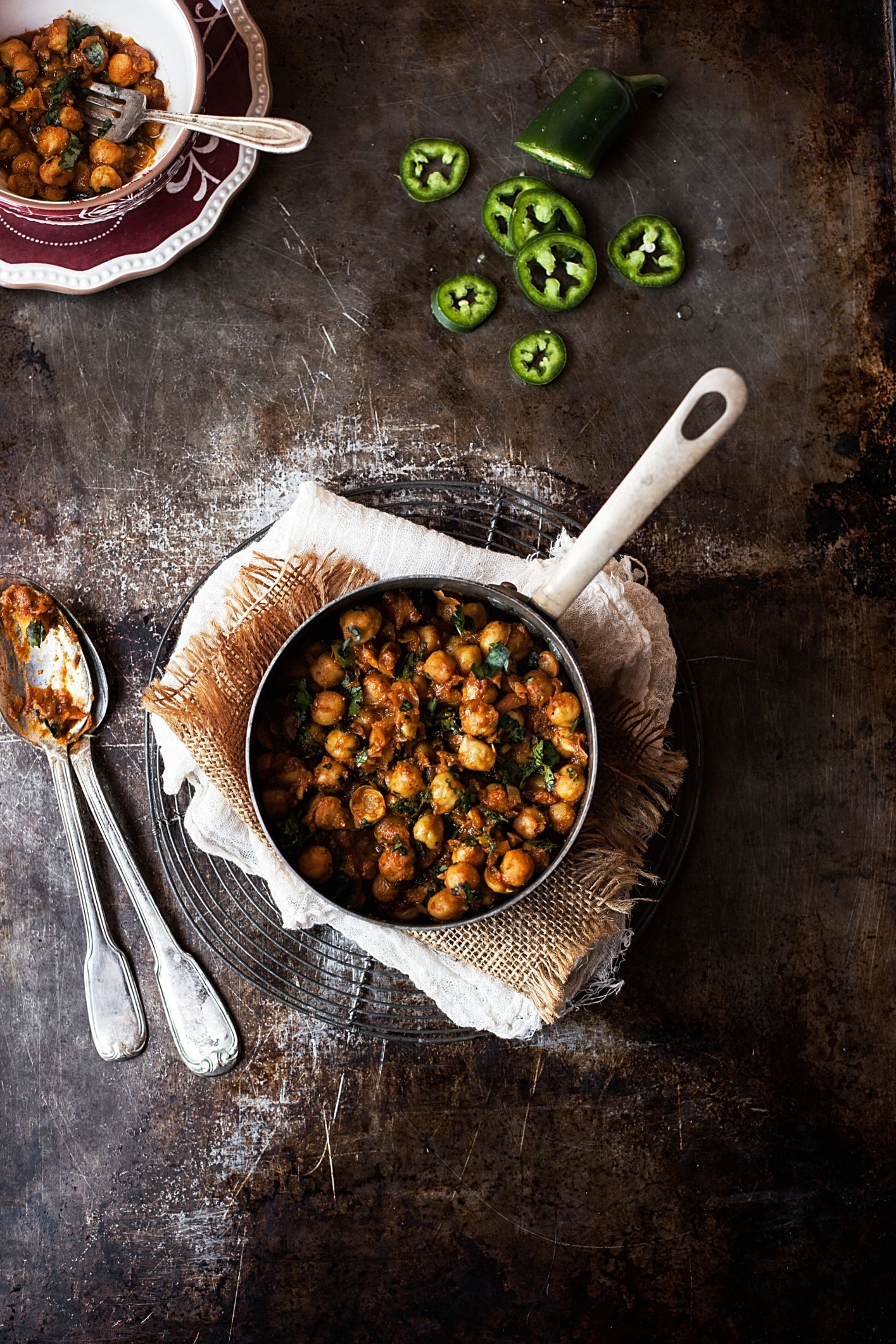 North Indian Style Dry Chickpea Curry