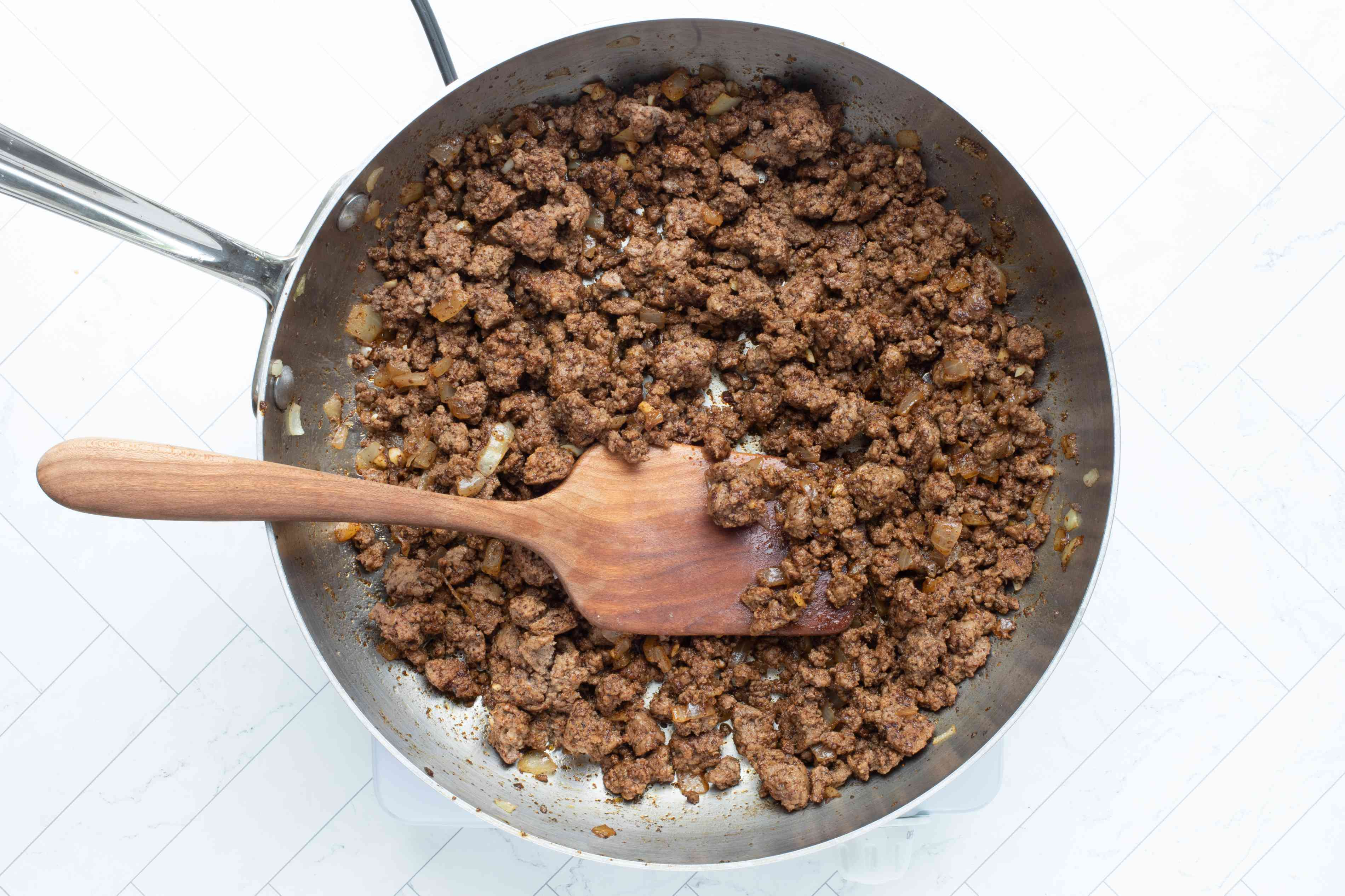 cooking the ground beef for tacos
