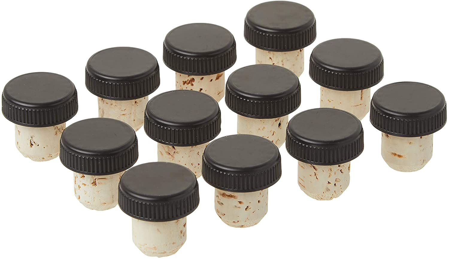 North Mountain Supply Bar Natural Corks with Plastic Tops, Pack of 12