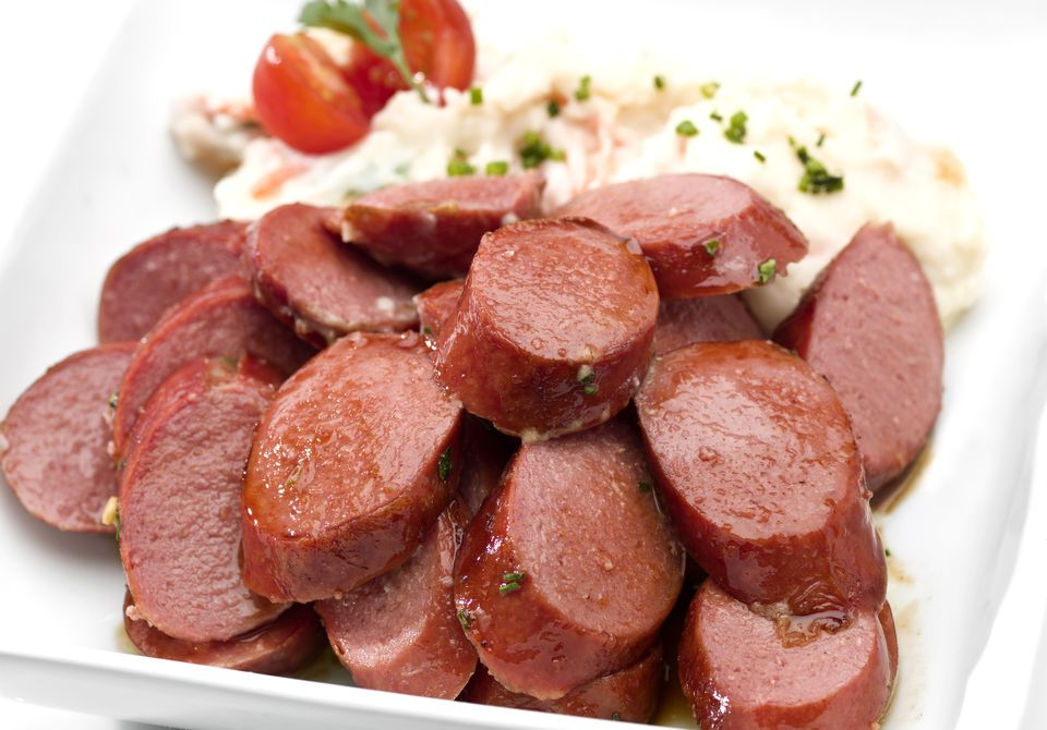 Sliced Knackwurst german sausages
