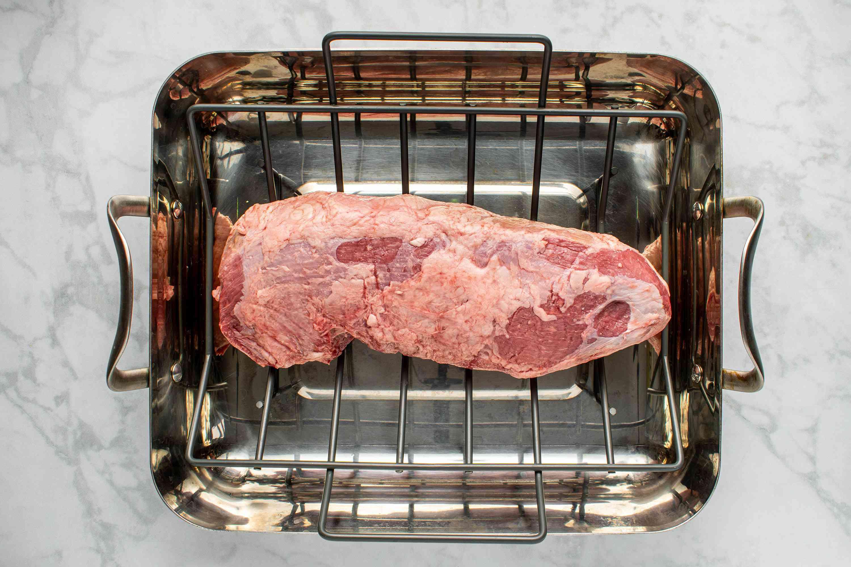 beef in a roasting pan