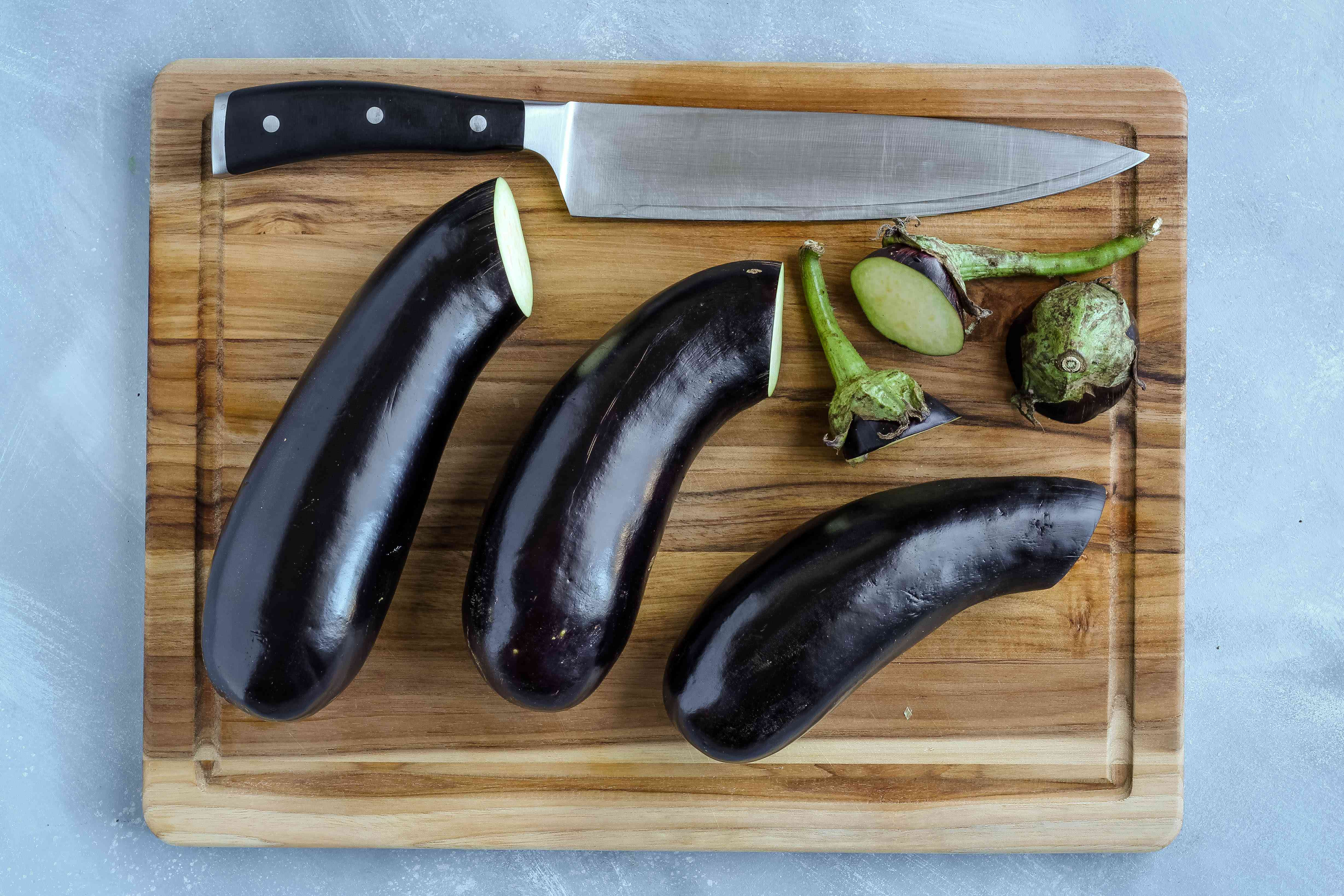 Stem ends trimmed off the eggplant