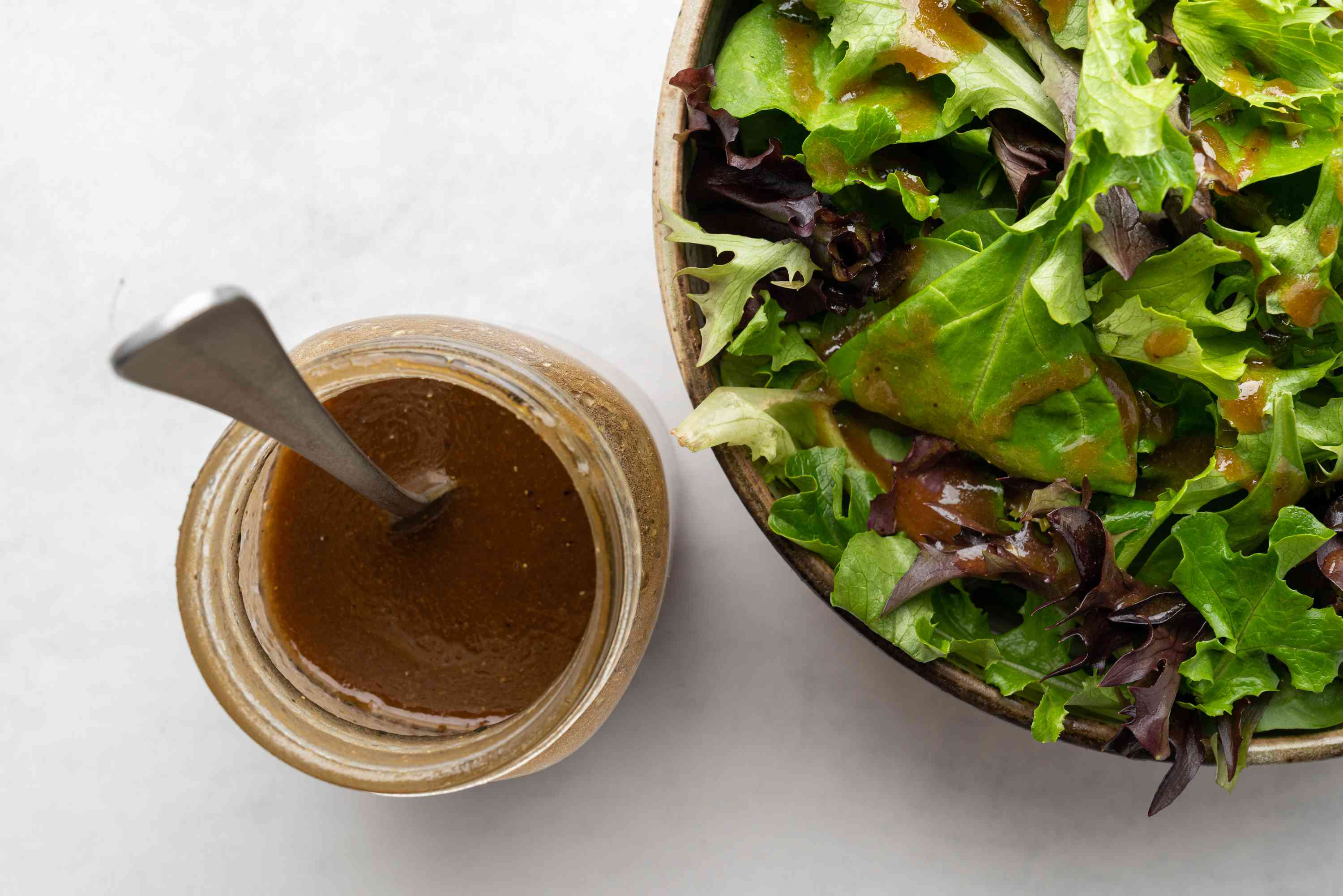 Balsamic and Mustard Vinaigrette with a salad
