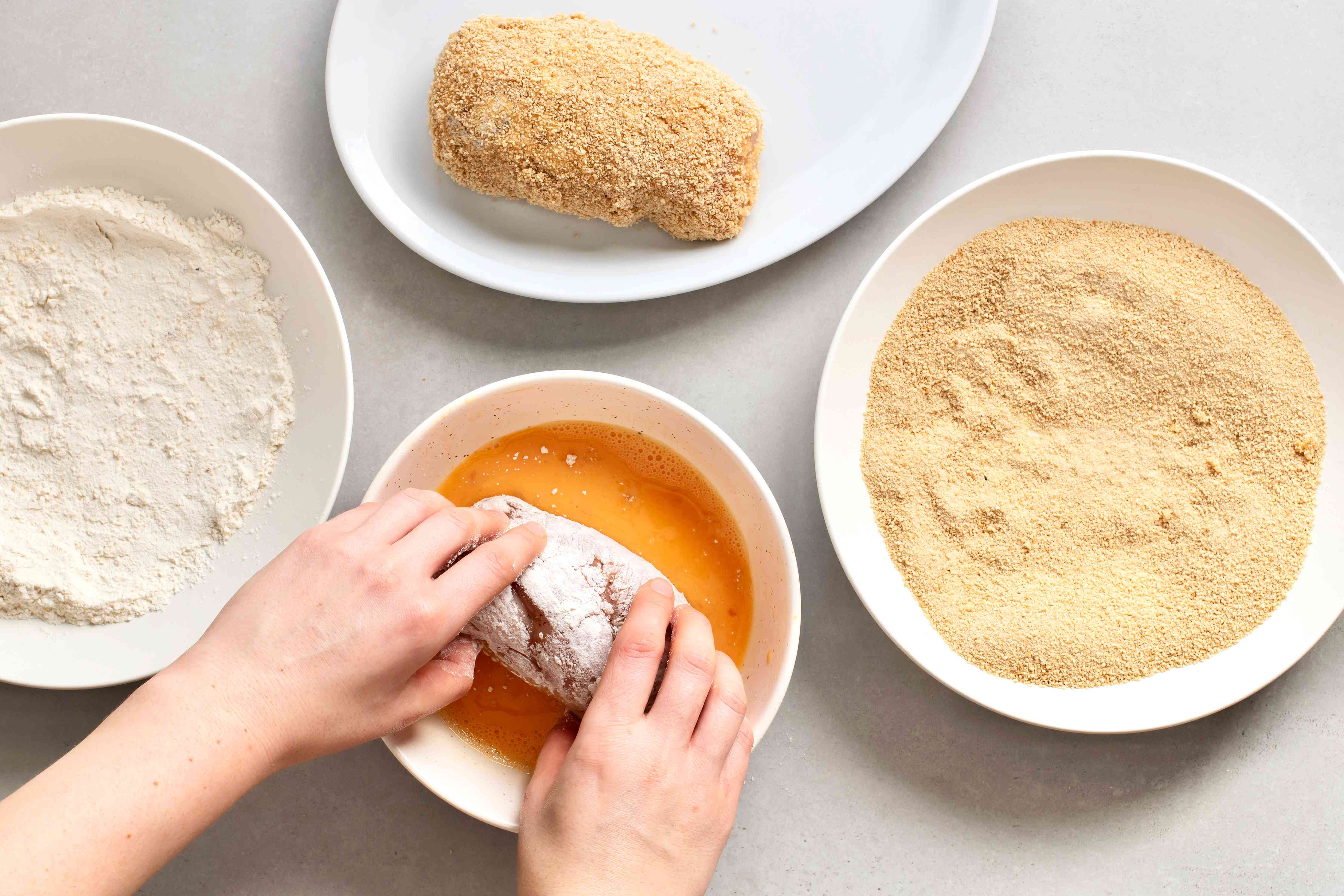 Dredge breasts in flour, then egg wash and then in breadcrumbs