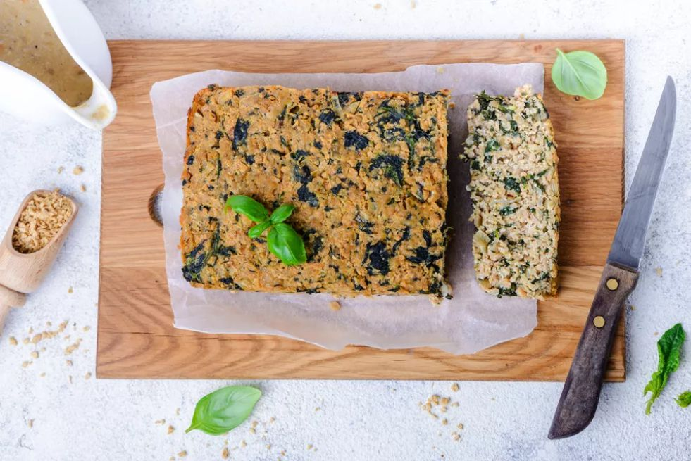 Meatless Vegan Meatloaf With TVP and Tofu