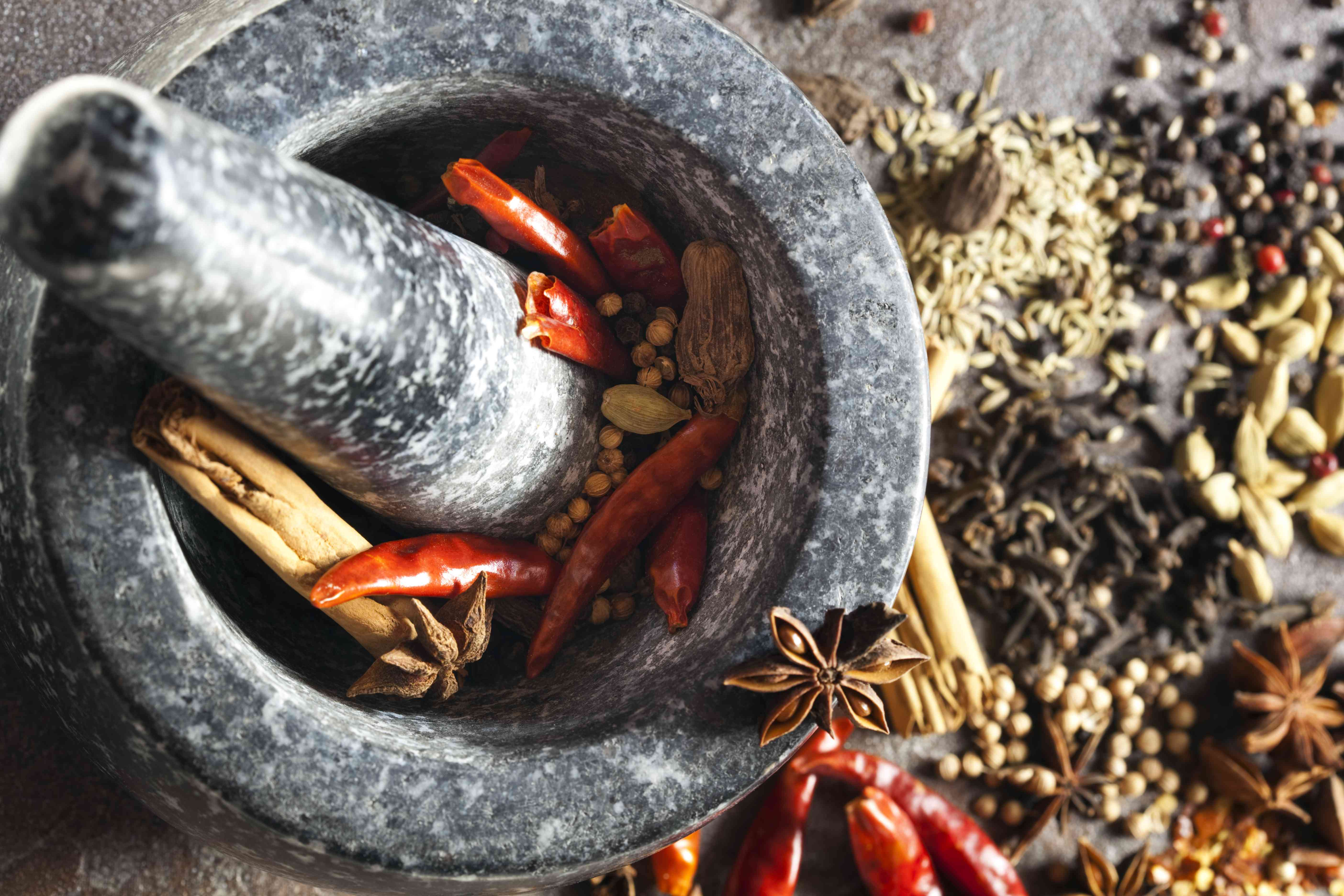 Mortar and pestle surrounded by various spices
