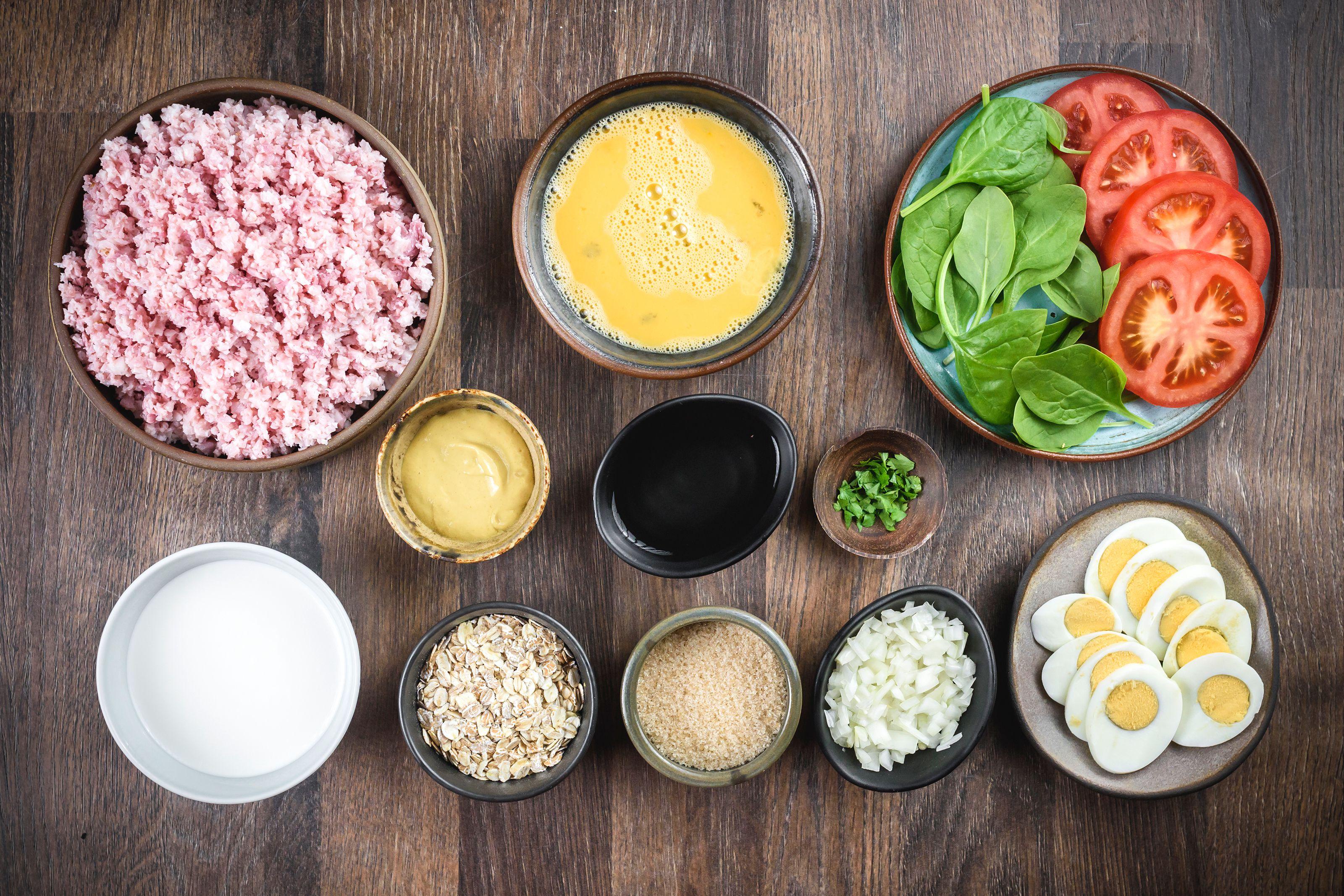 Ingredients for easy glazed ham loaf