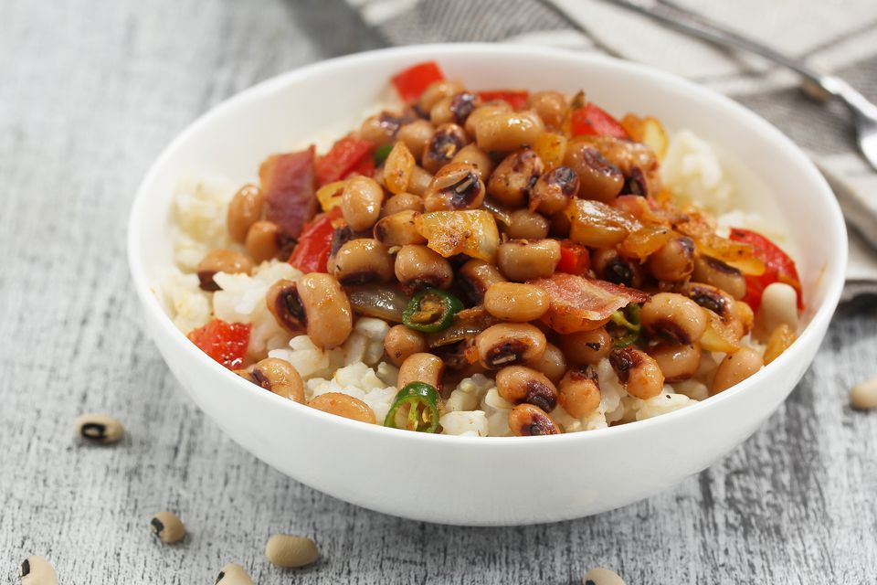 Homemade Hoppin john or carolina Peas served in a white bowl