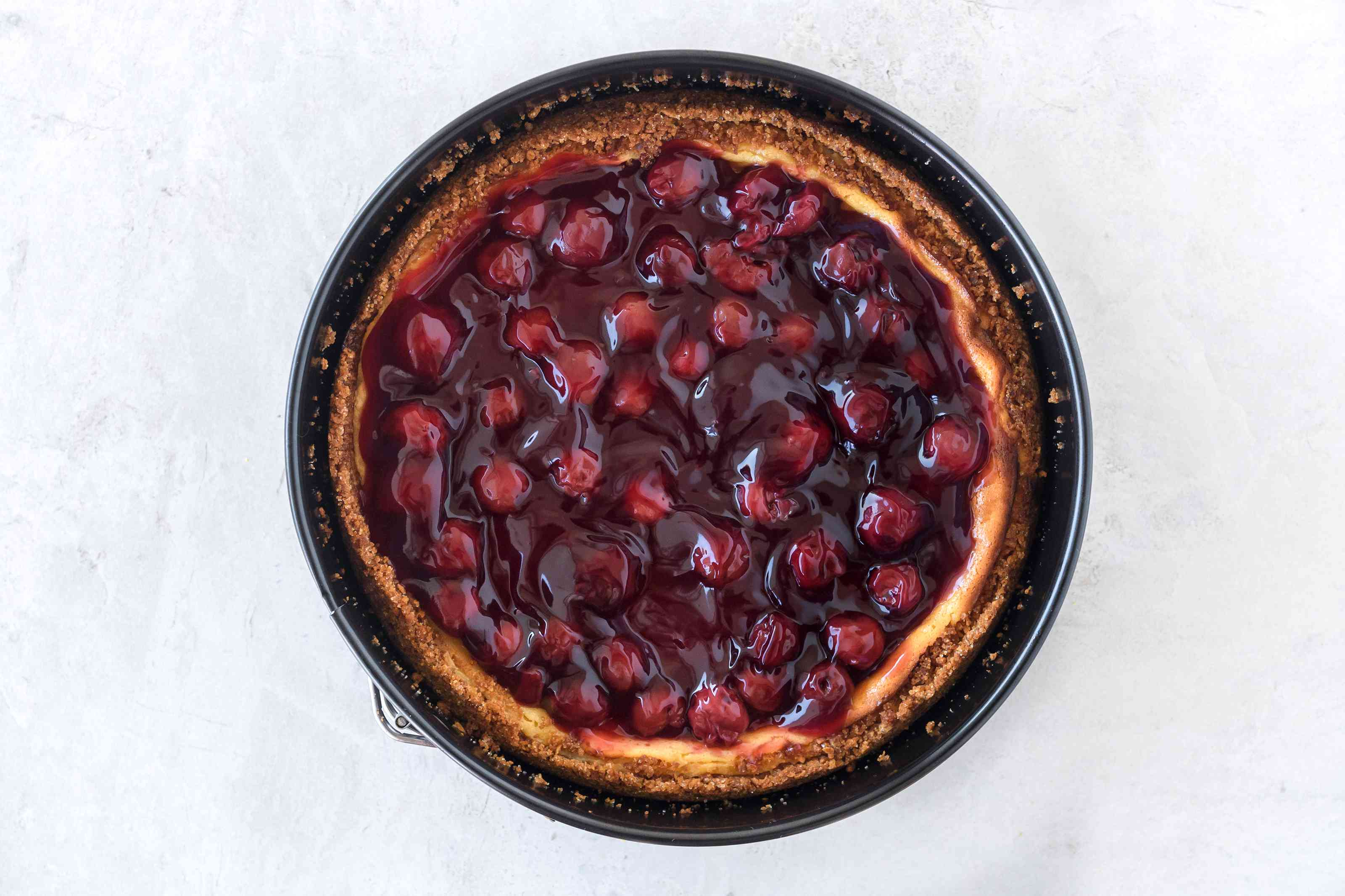 Dairy-free cheesecake with cherry topping