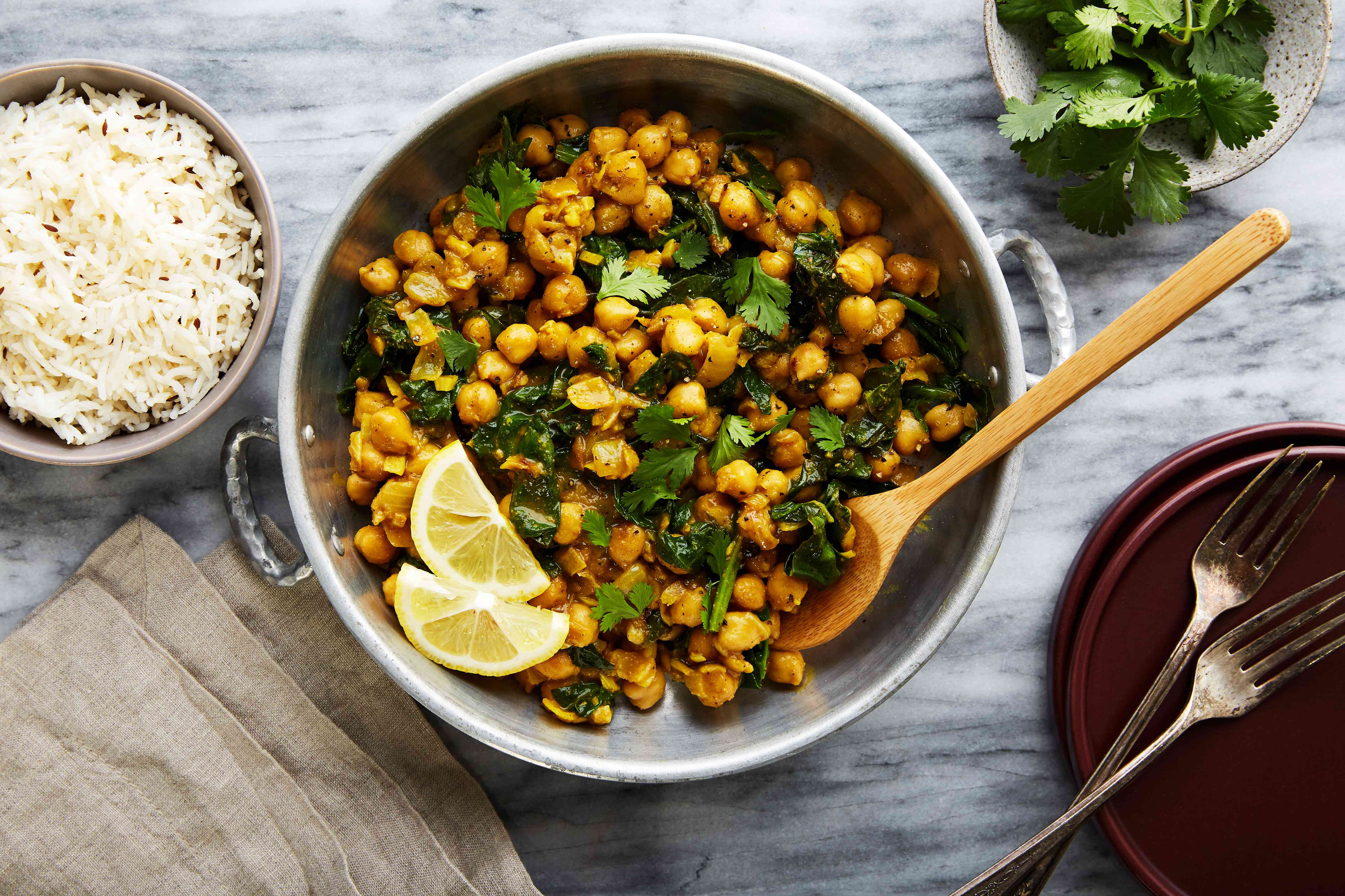 Chana masala spicy chickpeas with spinach recipe
