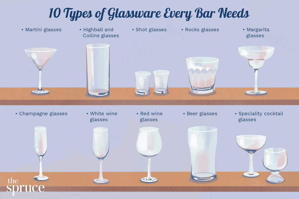 illustration showing 10 types of essential bar glassware