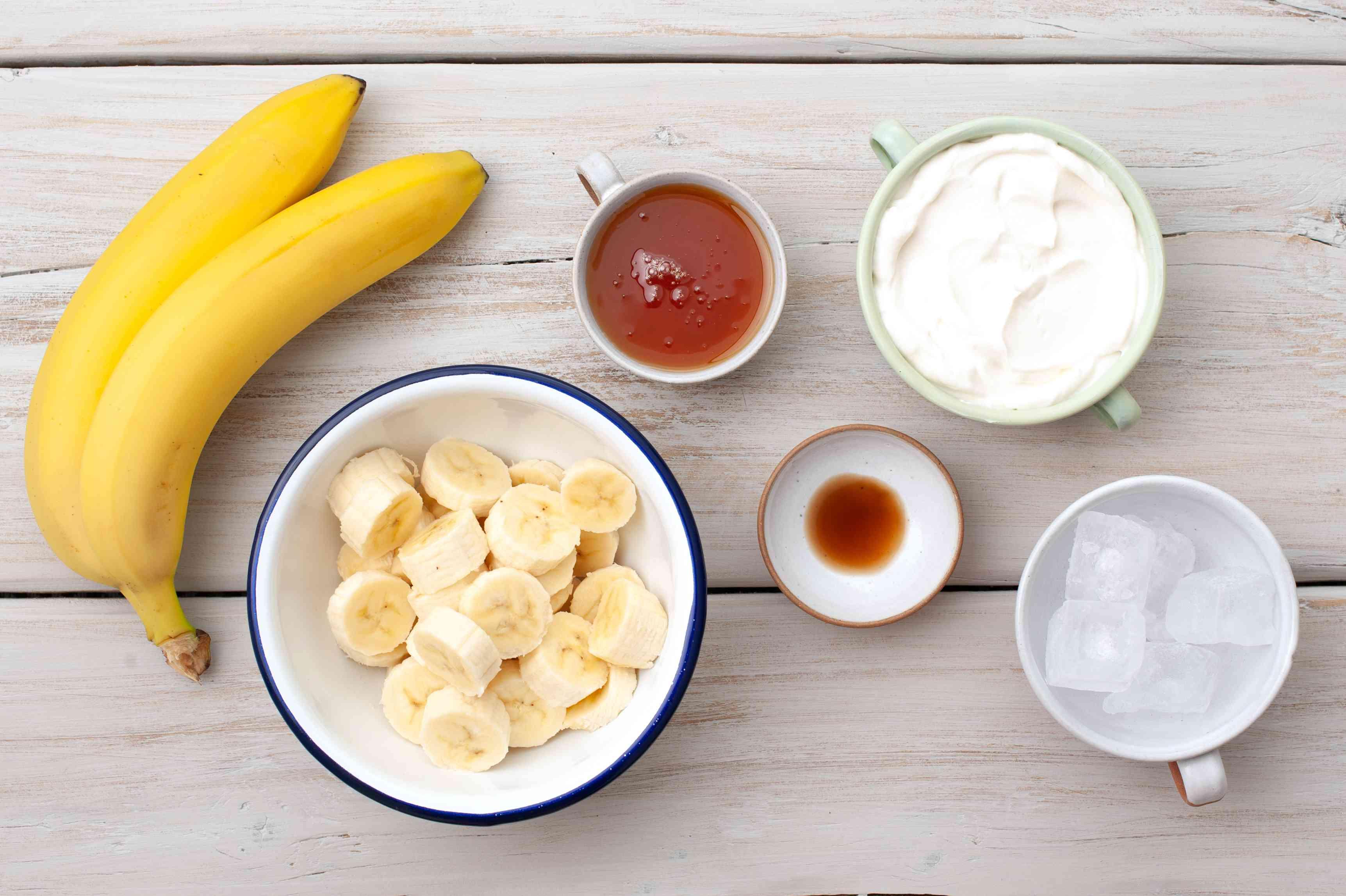 Ingredients for making a banana vanilla smoothie