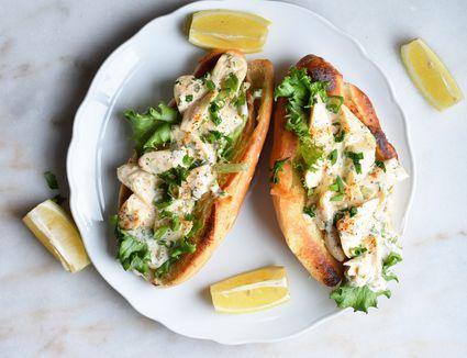 vegan lobster rolls served on a platter