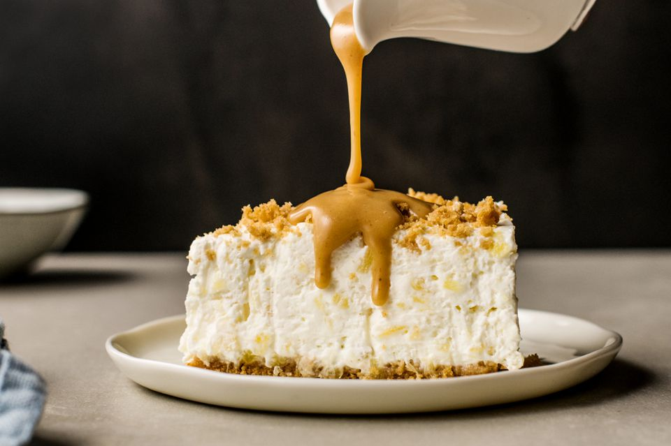 Peanut butter sauce on cheesecake