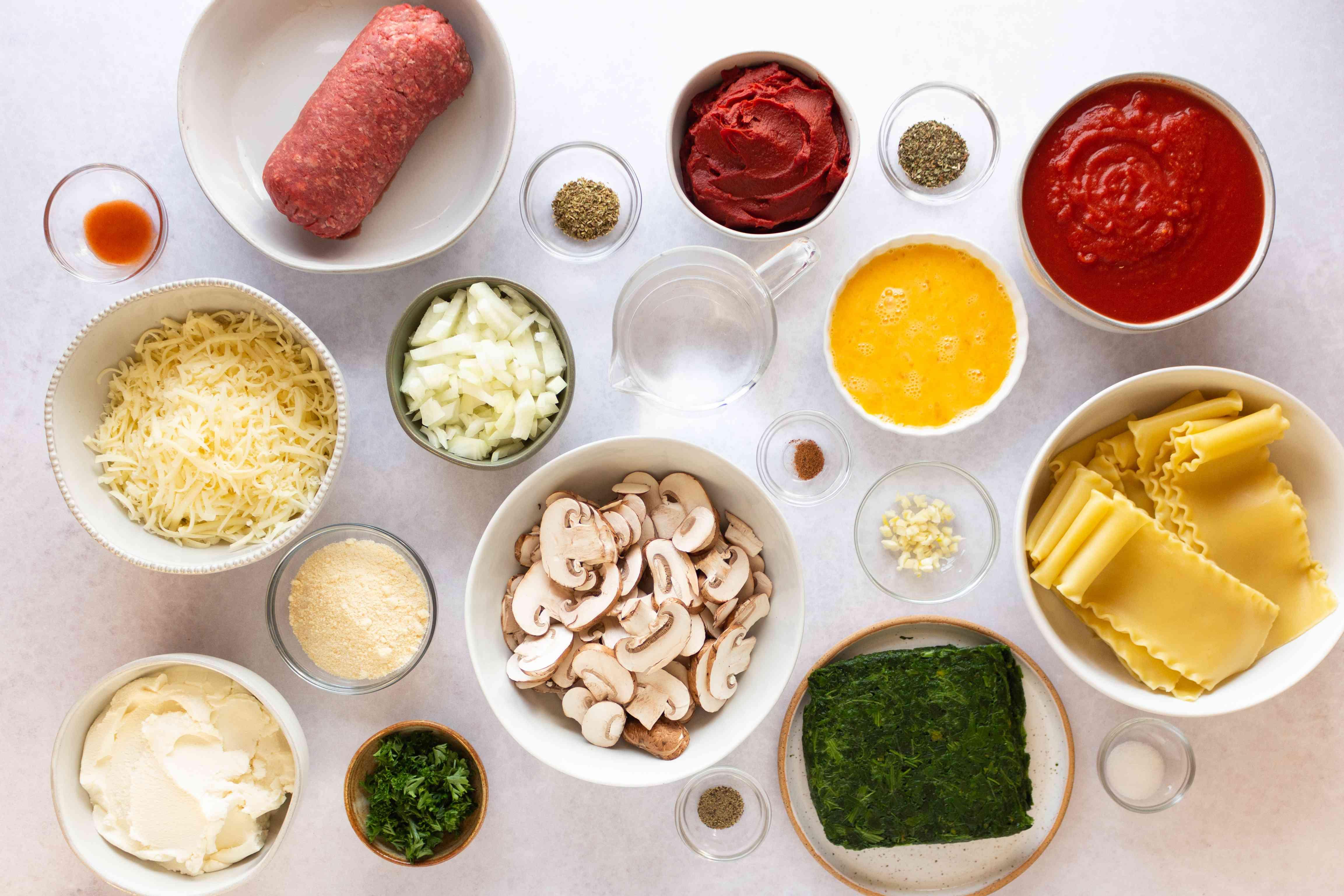 Spinach Lasagna Roll-Ups ingredients
