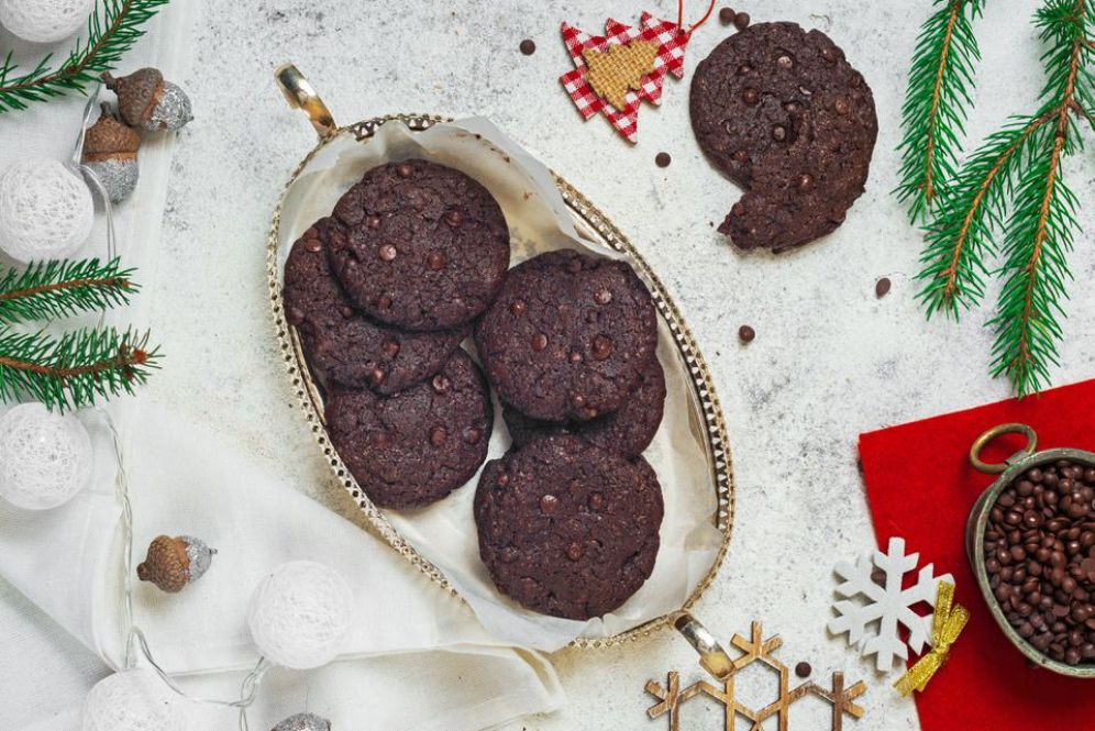 Vegan Double Chocolate Chunk Cookies