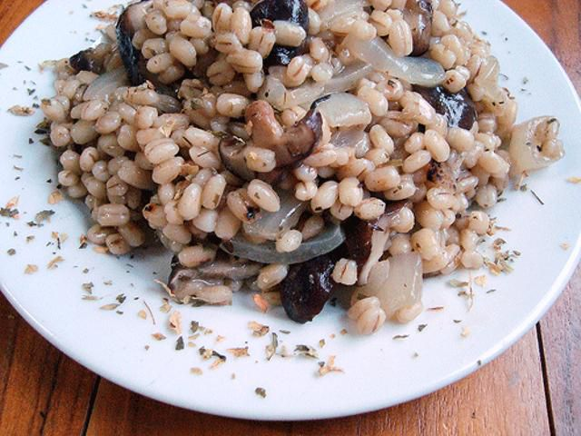 Barley and mushroom pilaf is a warming and comforting vegetarian meal