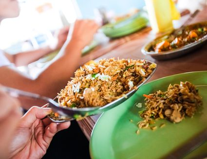 Fried rice on a table
