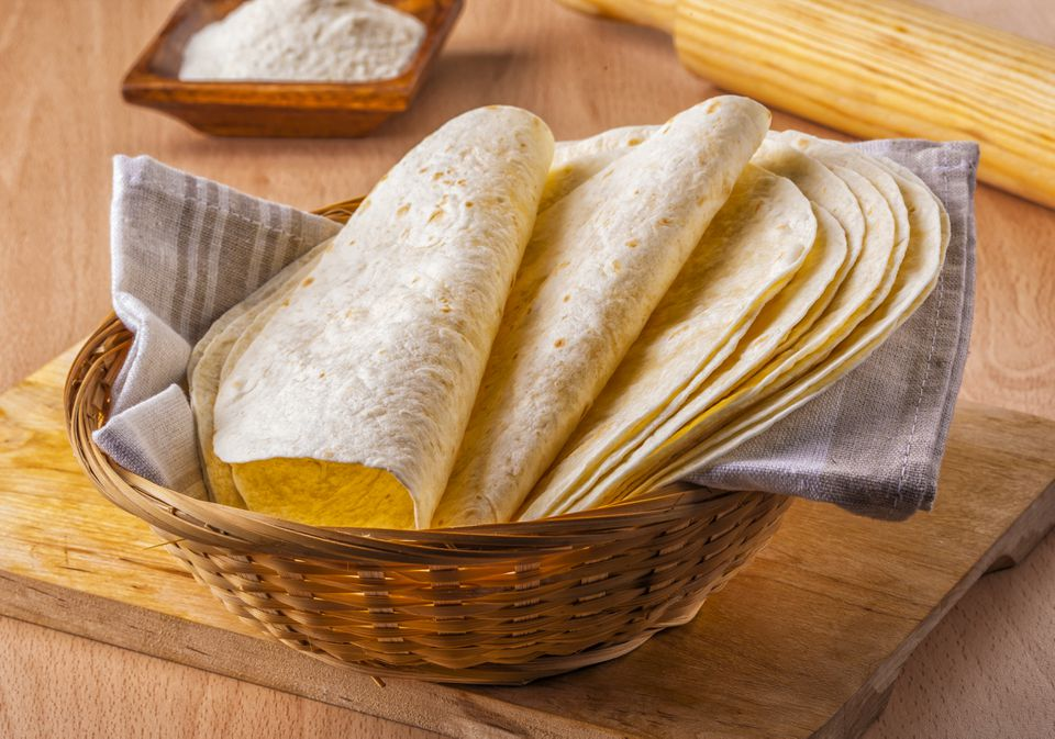Corn tortillas in a basket