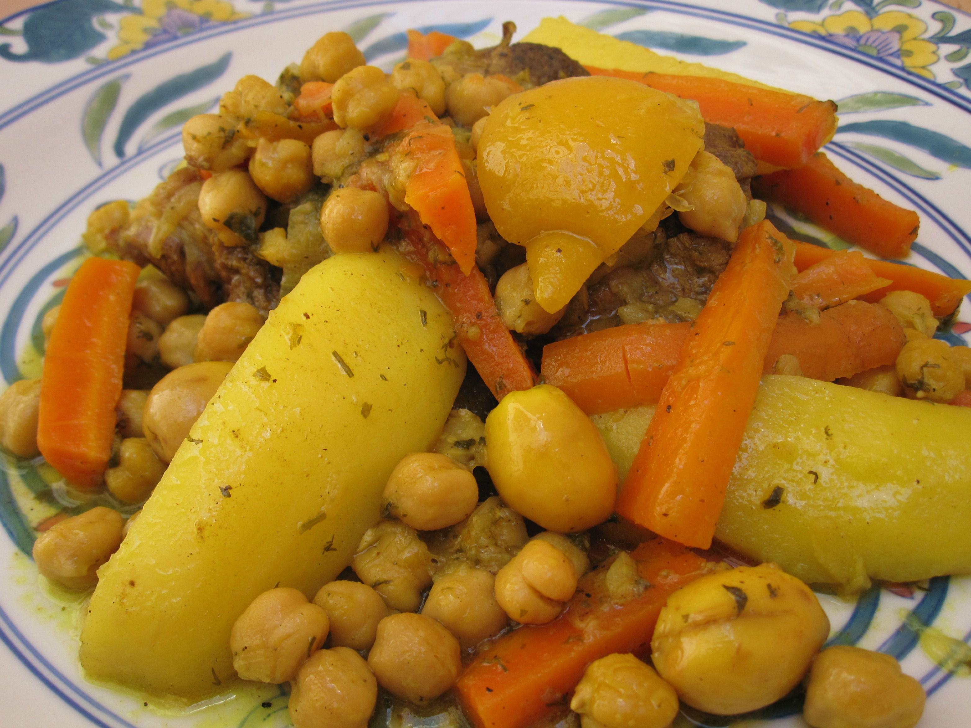 Moroccan Tagine With Carrots, Potatoes and Chickpeas