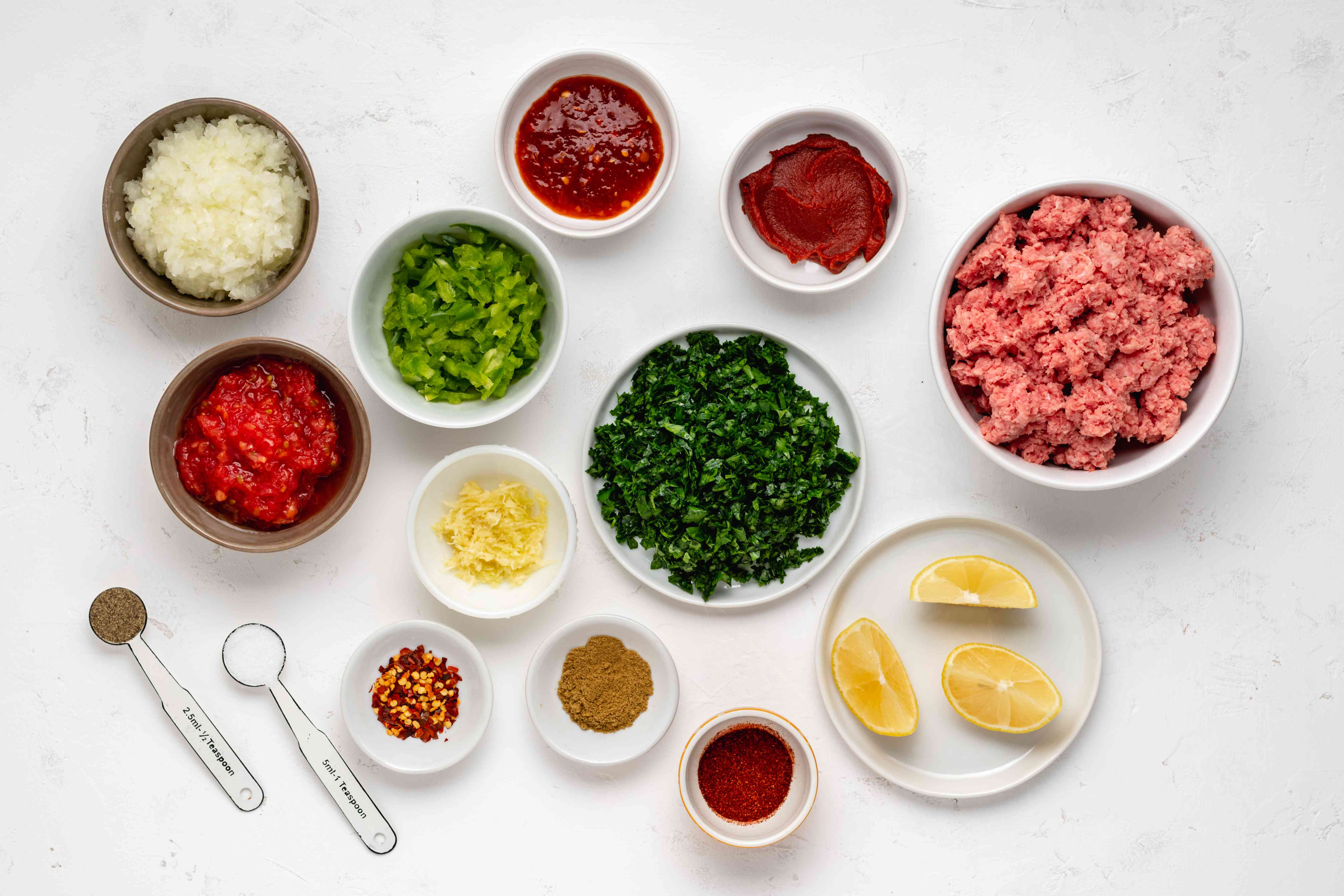 Homemade Turkish lahmacun filling ingredients