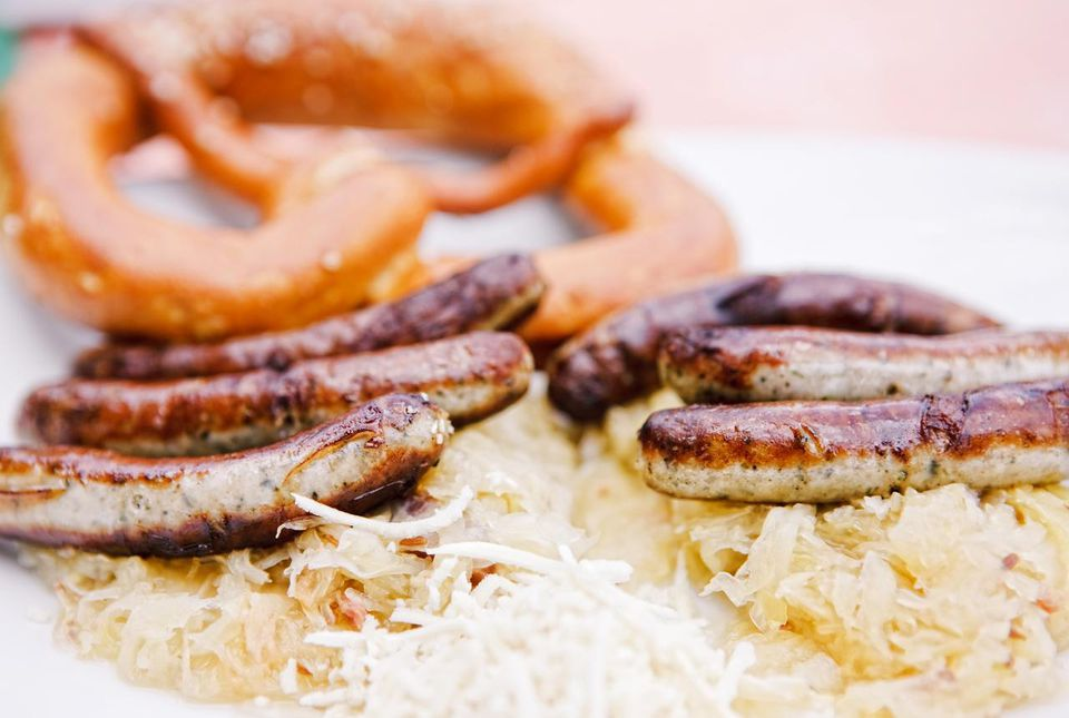 Bratwurst with Sauerkraut and Pretzel
