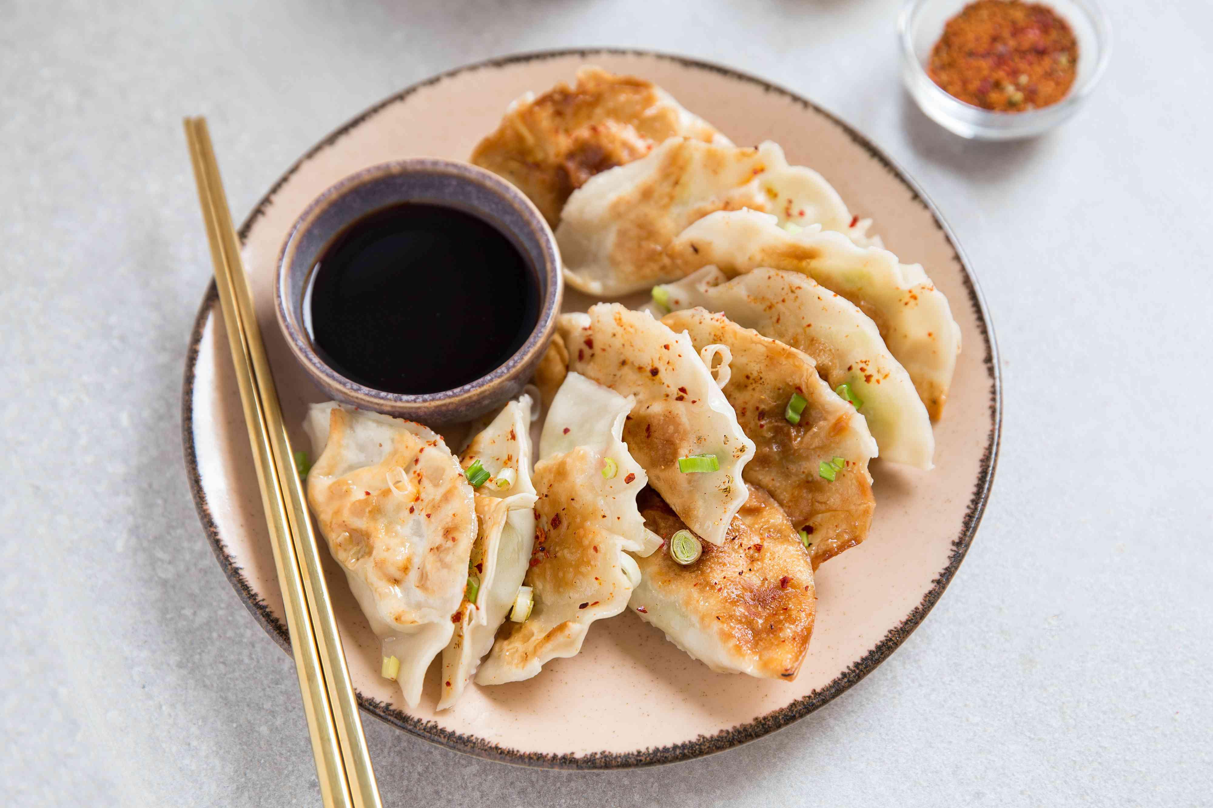 Japanese Shrimp Gyoza on a plate