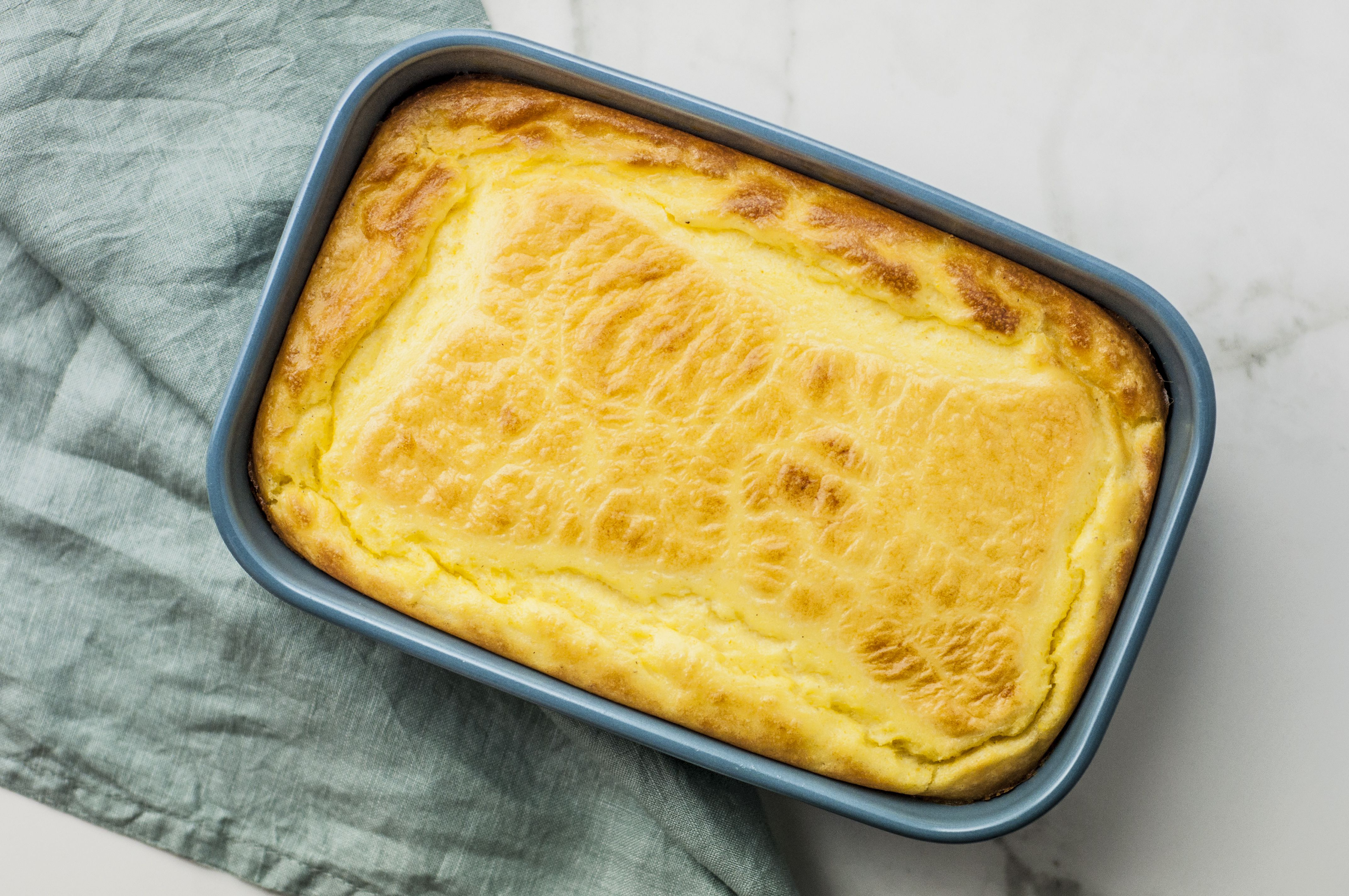 Southern spoon bread browned from the oven