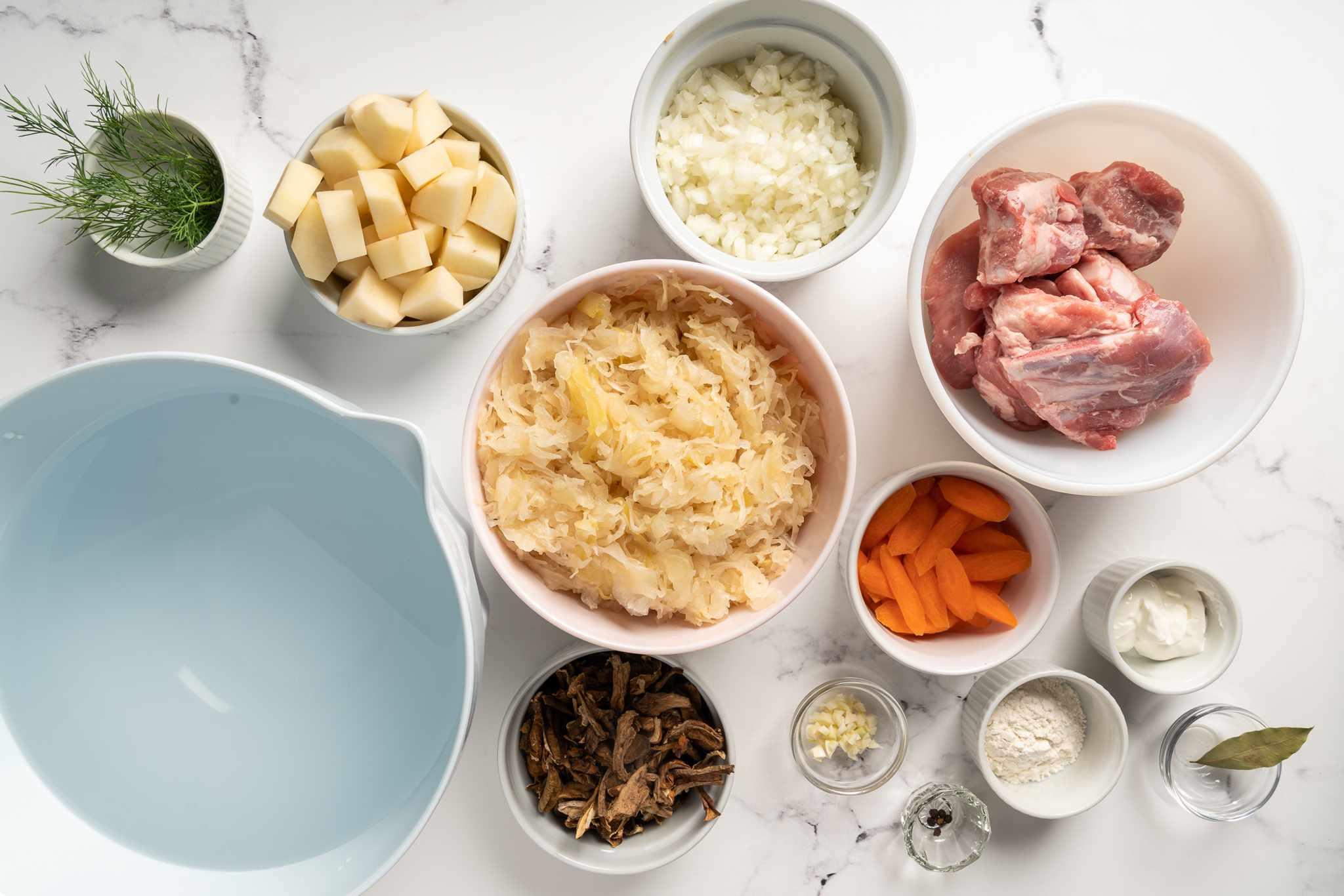 Ukrainian Sauerkraut Soup (Kapusnyak) ingredients