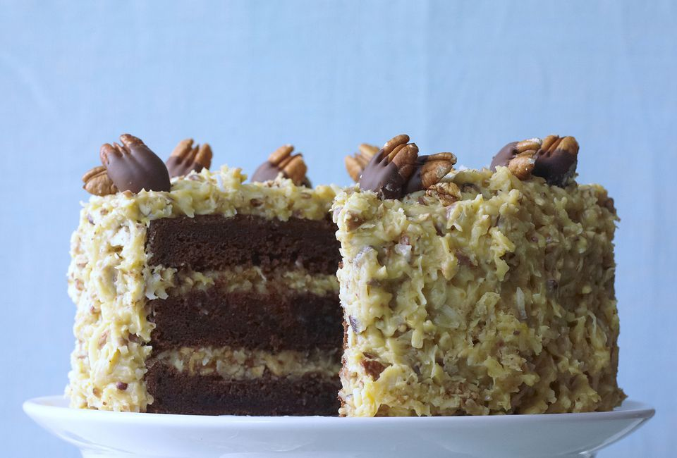 Chocolate Layer Cake with Coconut Pecan Frosting