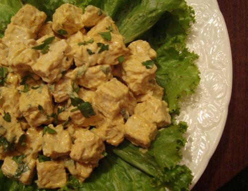 Vegan tempeh chicken salad on a bed of lettuce