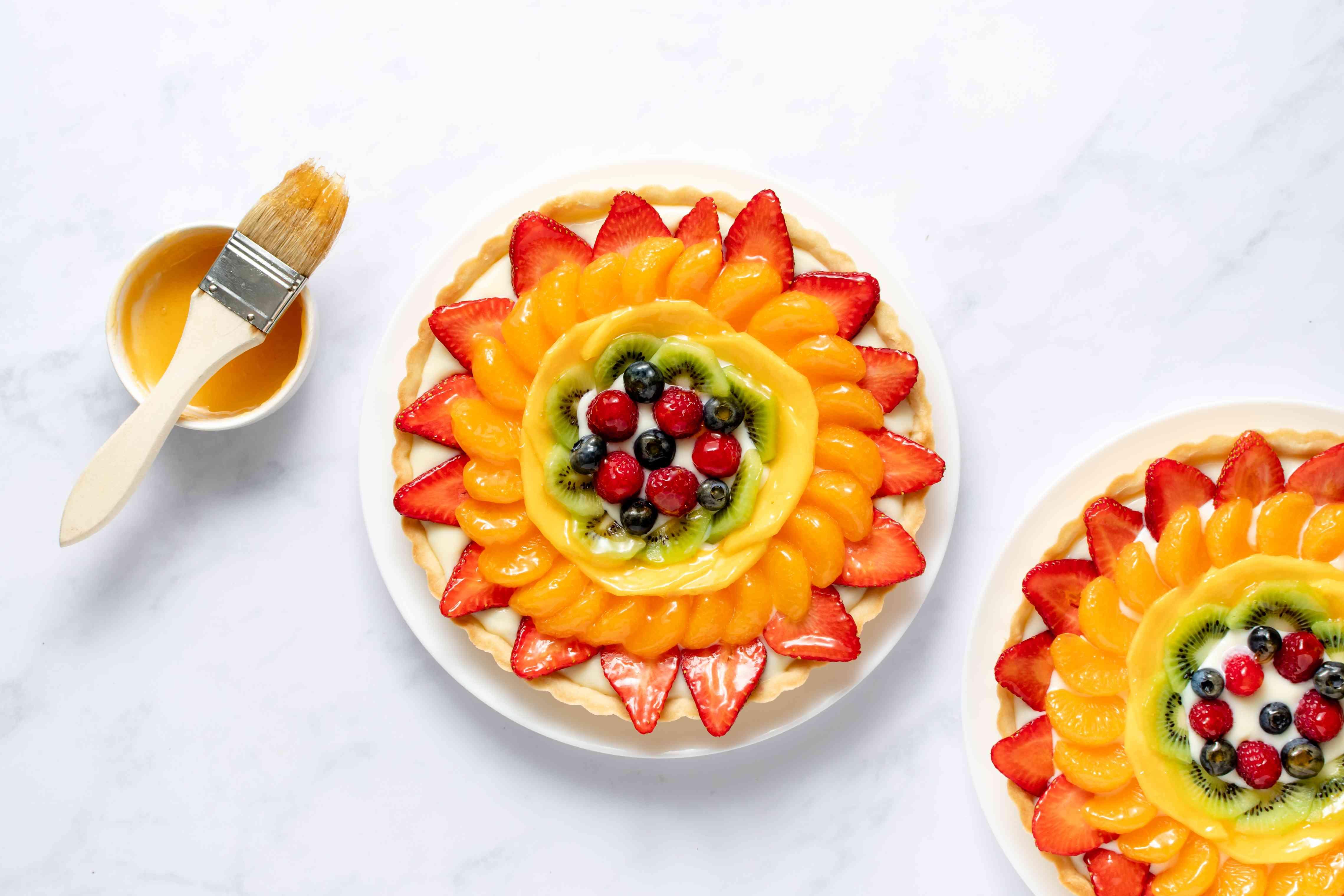 fruit tart brushed with glaze