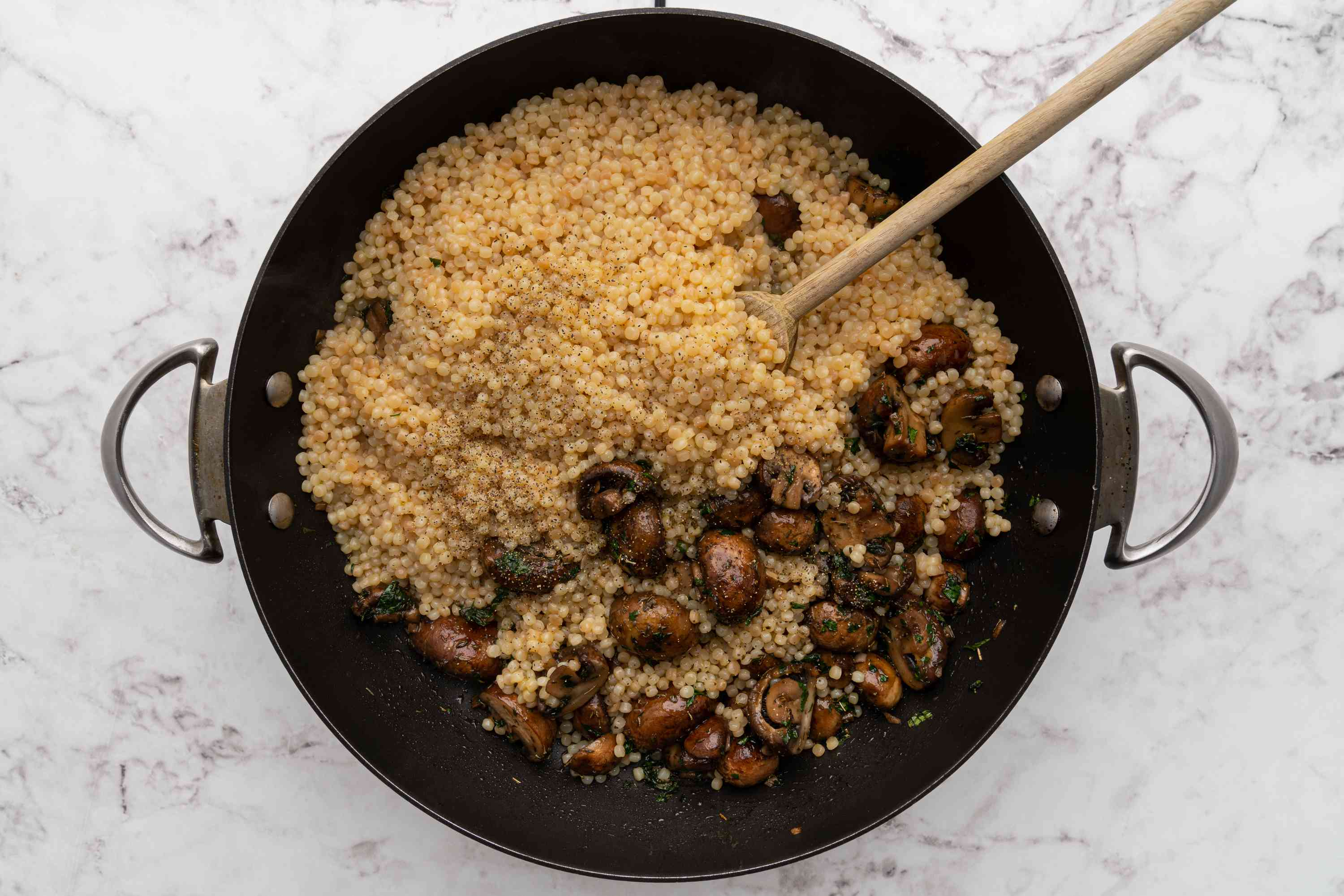 Perfect Israeli Couscous in a pan