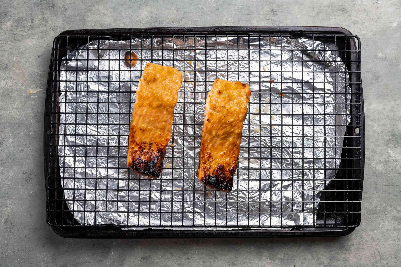 Shio Koji Salmon on a broiler rack