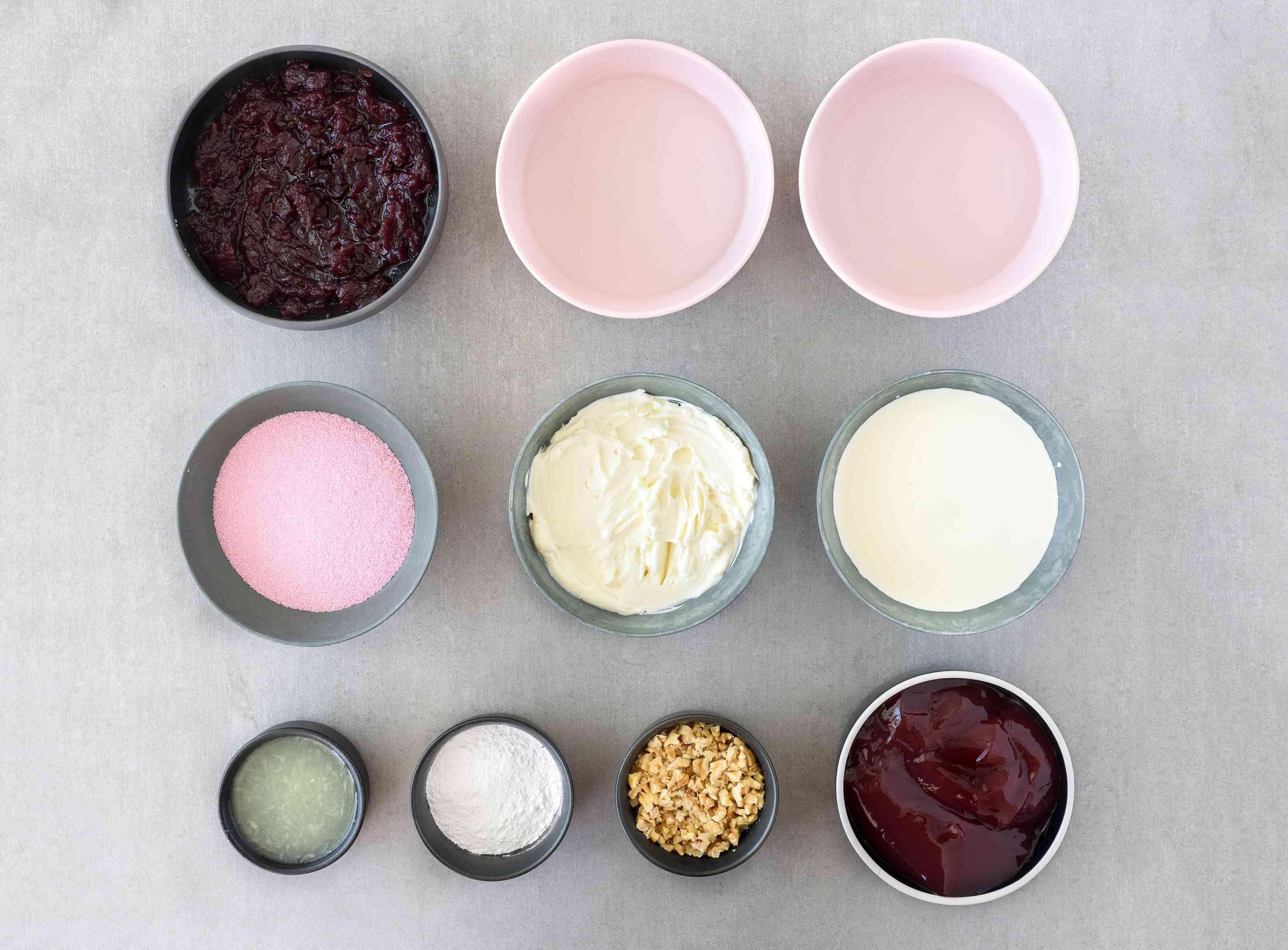 Ingredients for cranberry gelatin salad