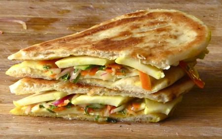 Paneer Grilled Cheese With Pickled Vegetable Curry
