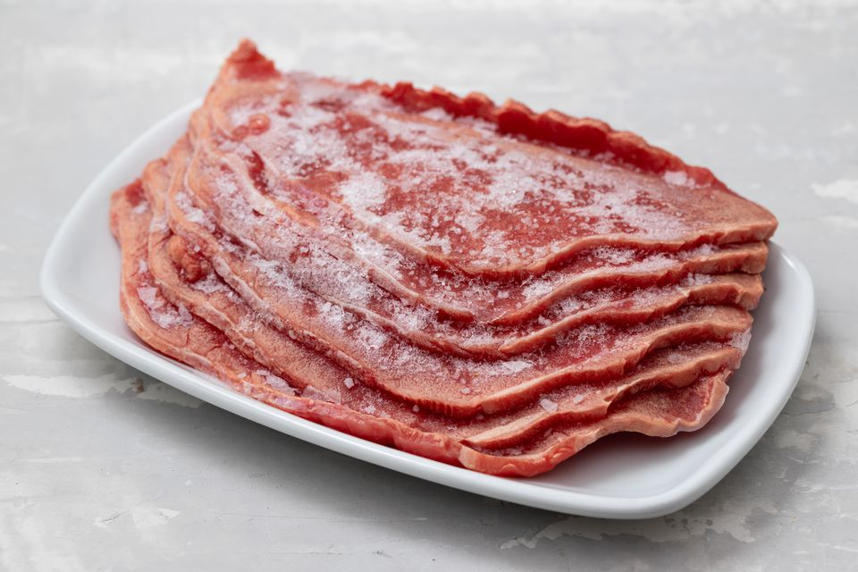 frozen meat on white dish