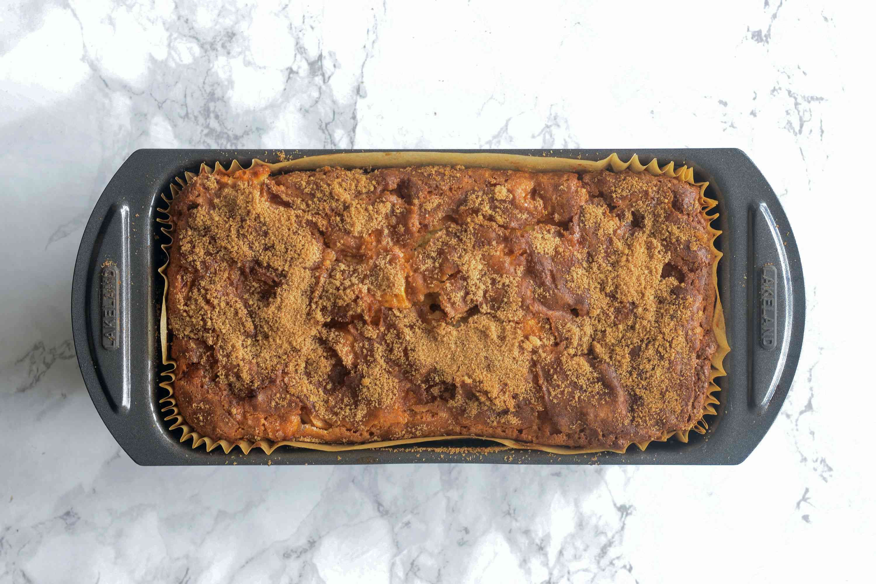 Baked Apple Fritter Bread in loaf pan