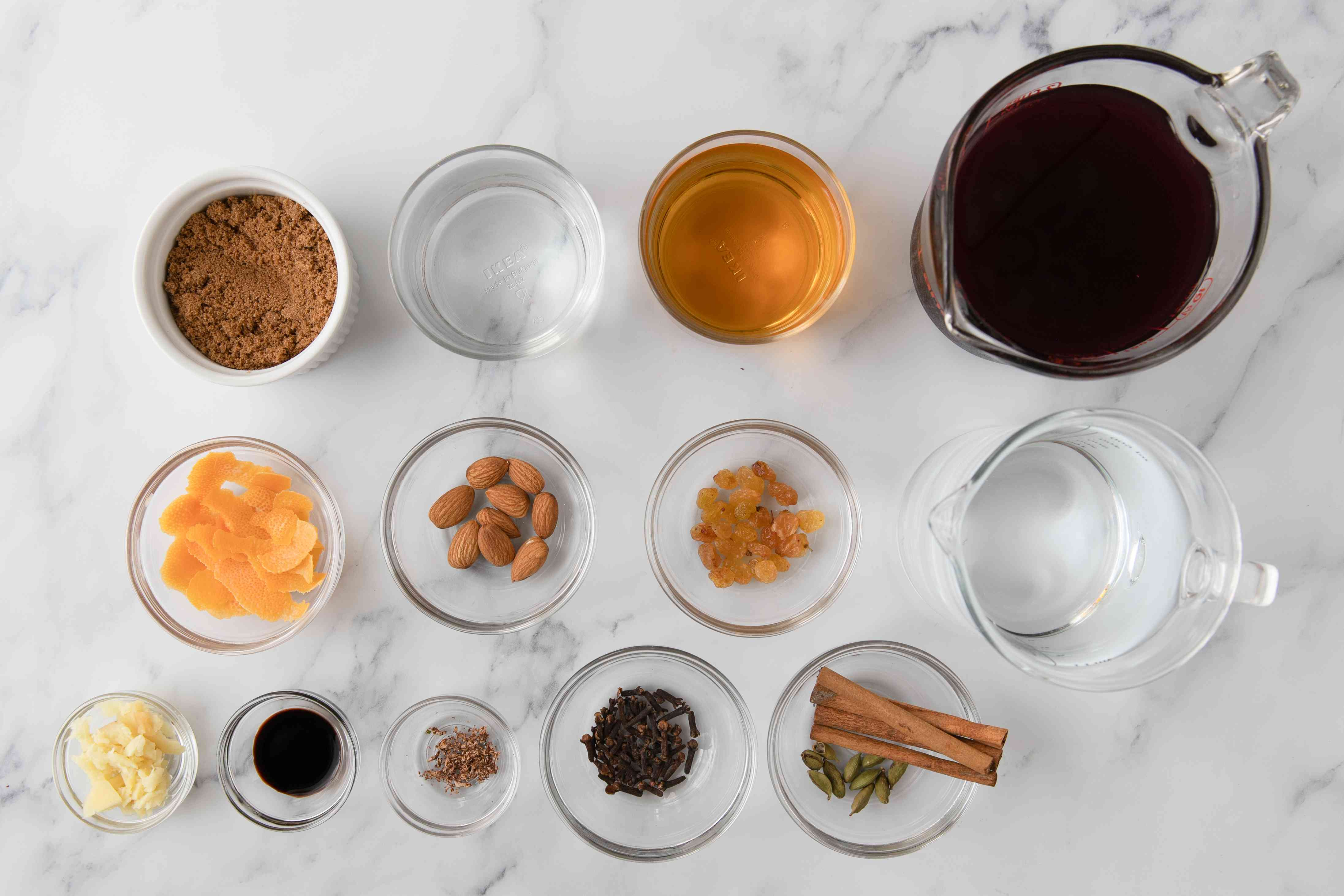 Gather the ingredients for glogg
