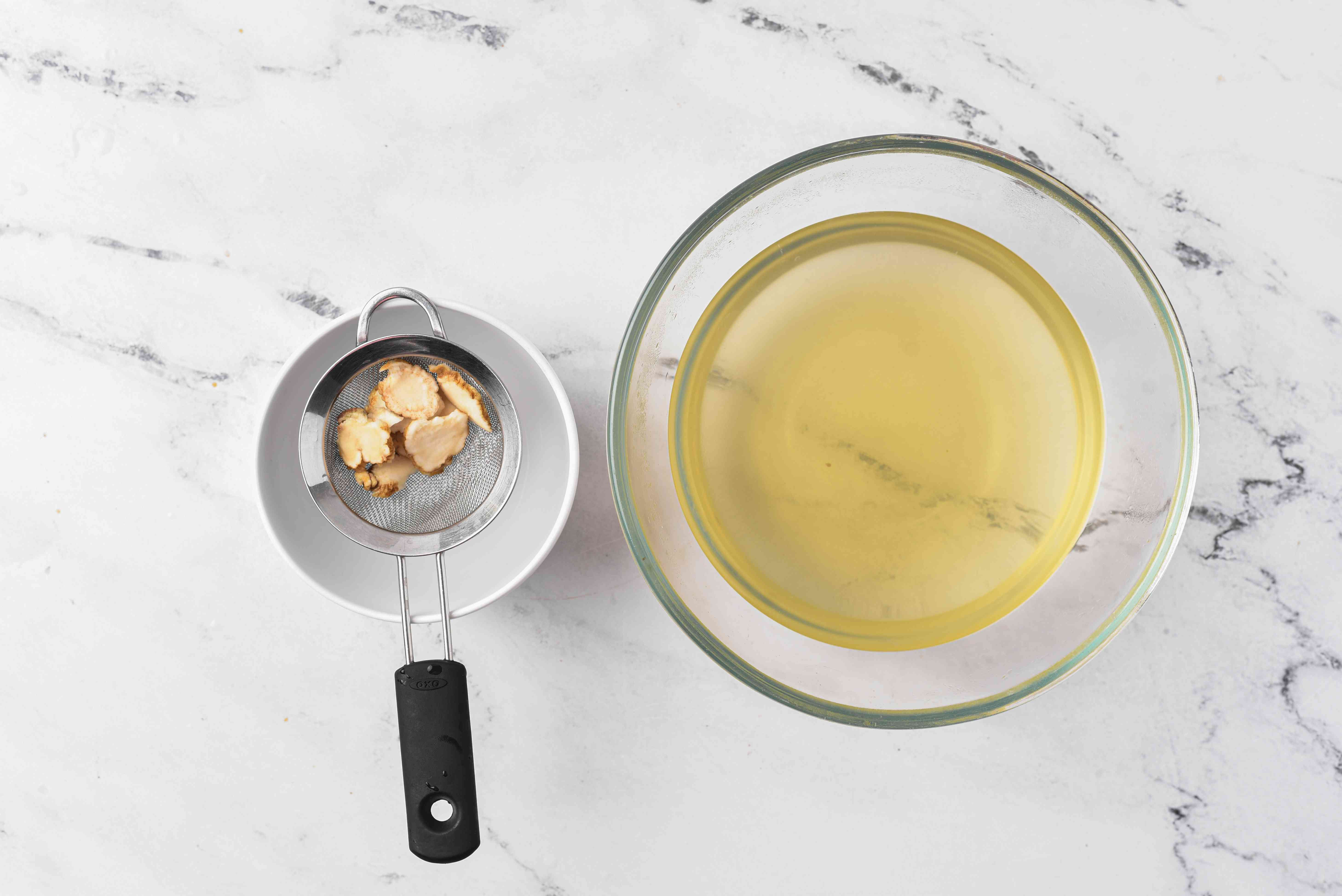 remove the ginger from the honey mixture