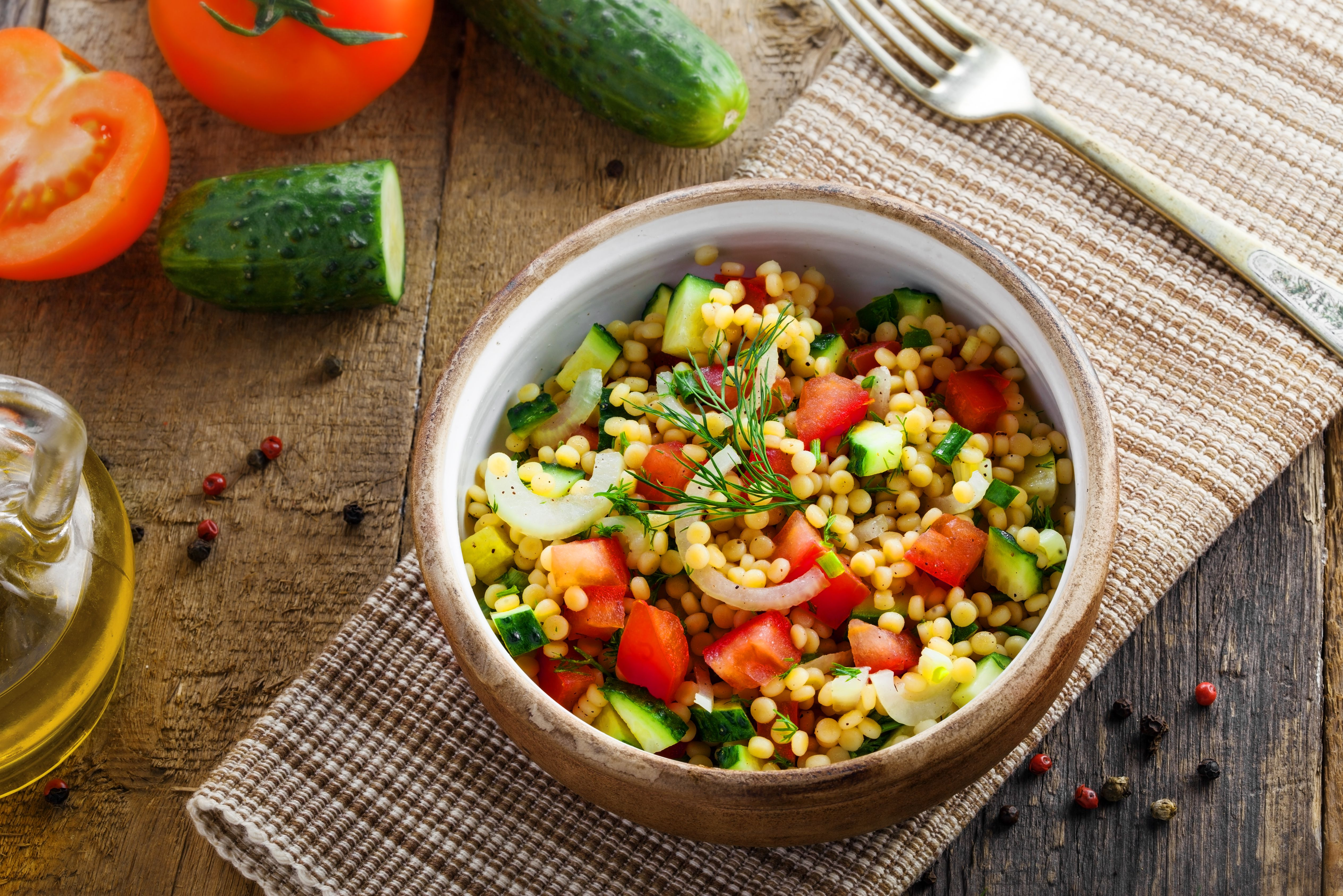 Israeli couscous Ptitim with vegetables