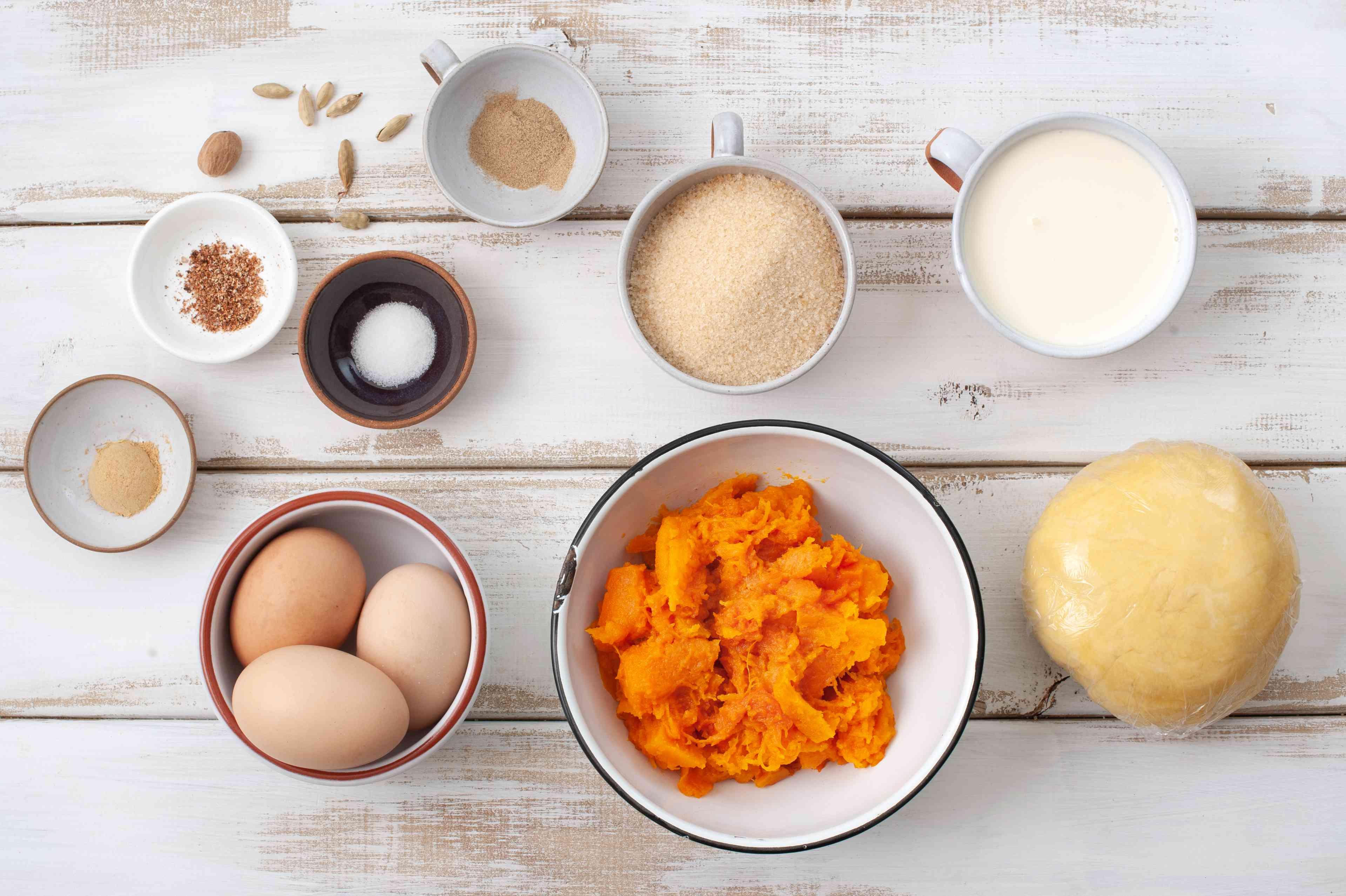Ingredients for cardamom pumpkin pie