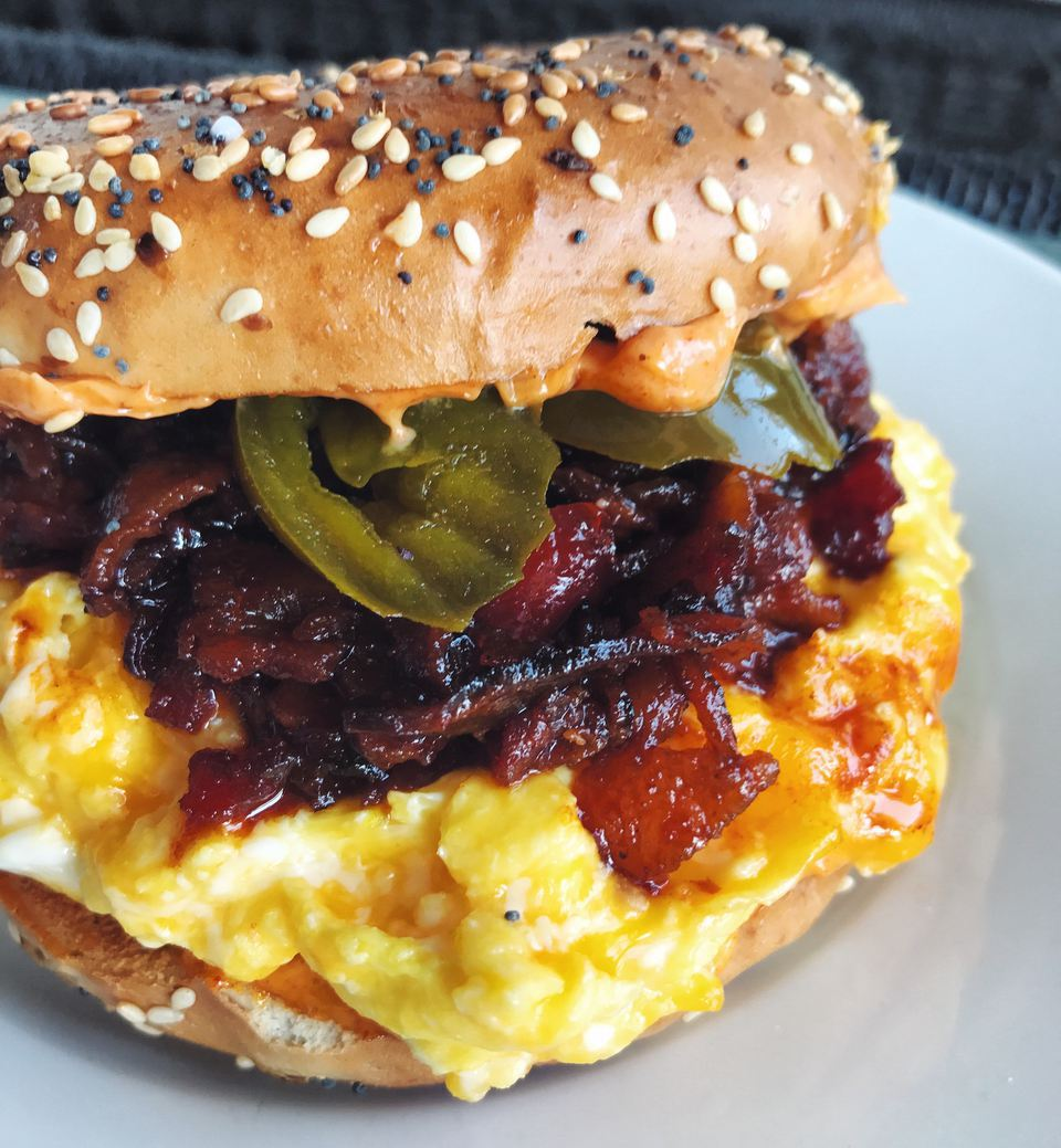 Bacon Jam, Egg, and Cheese Bagel Sandwich with Pickled Jalapenos