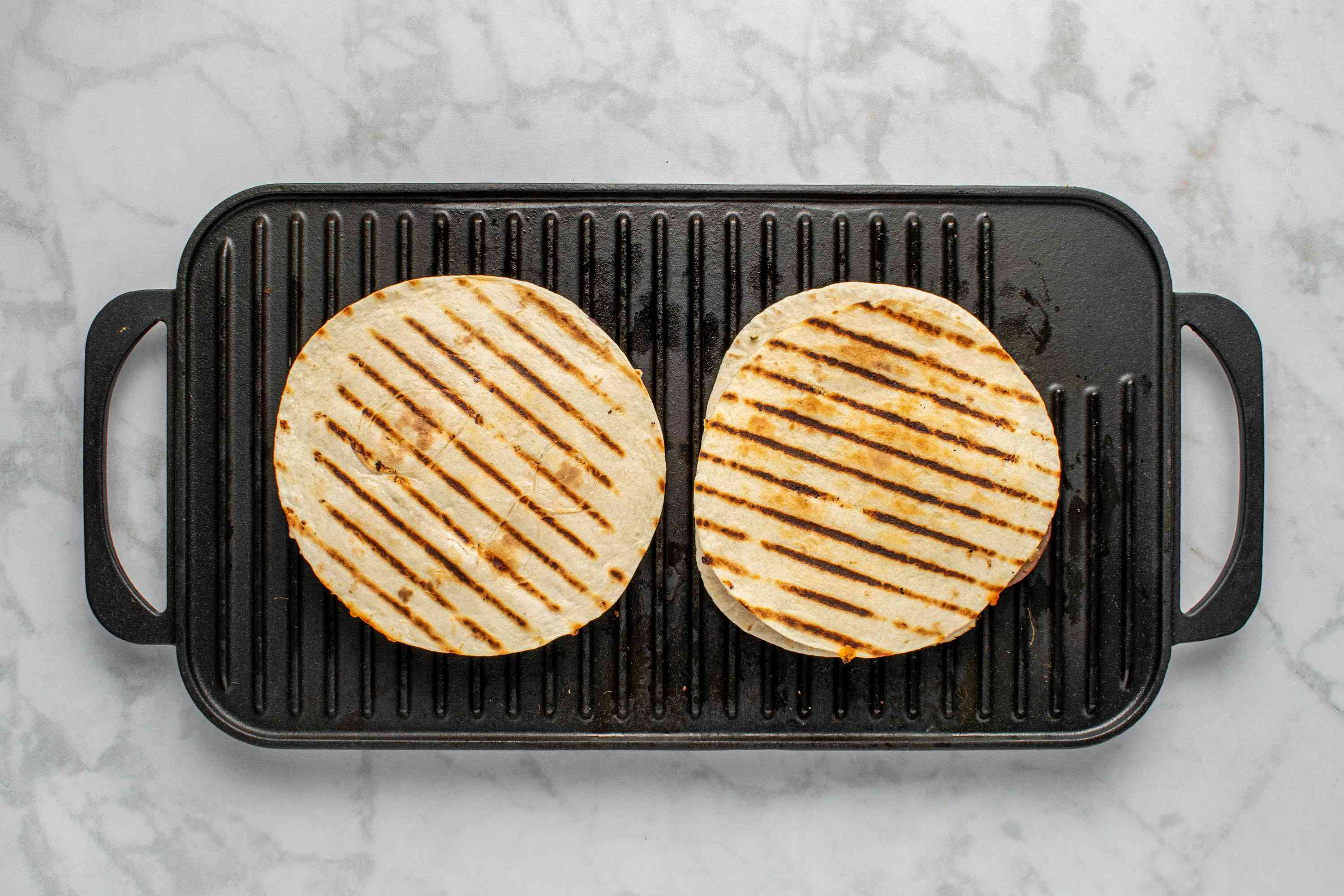Grilled Chicken Quesadilla on the grill