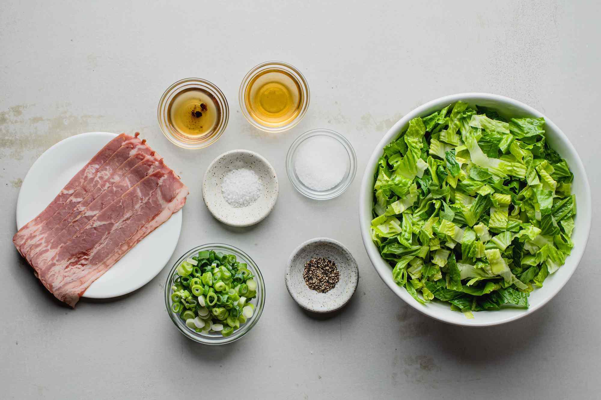 Ingredients for wilted lettuce salad