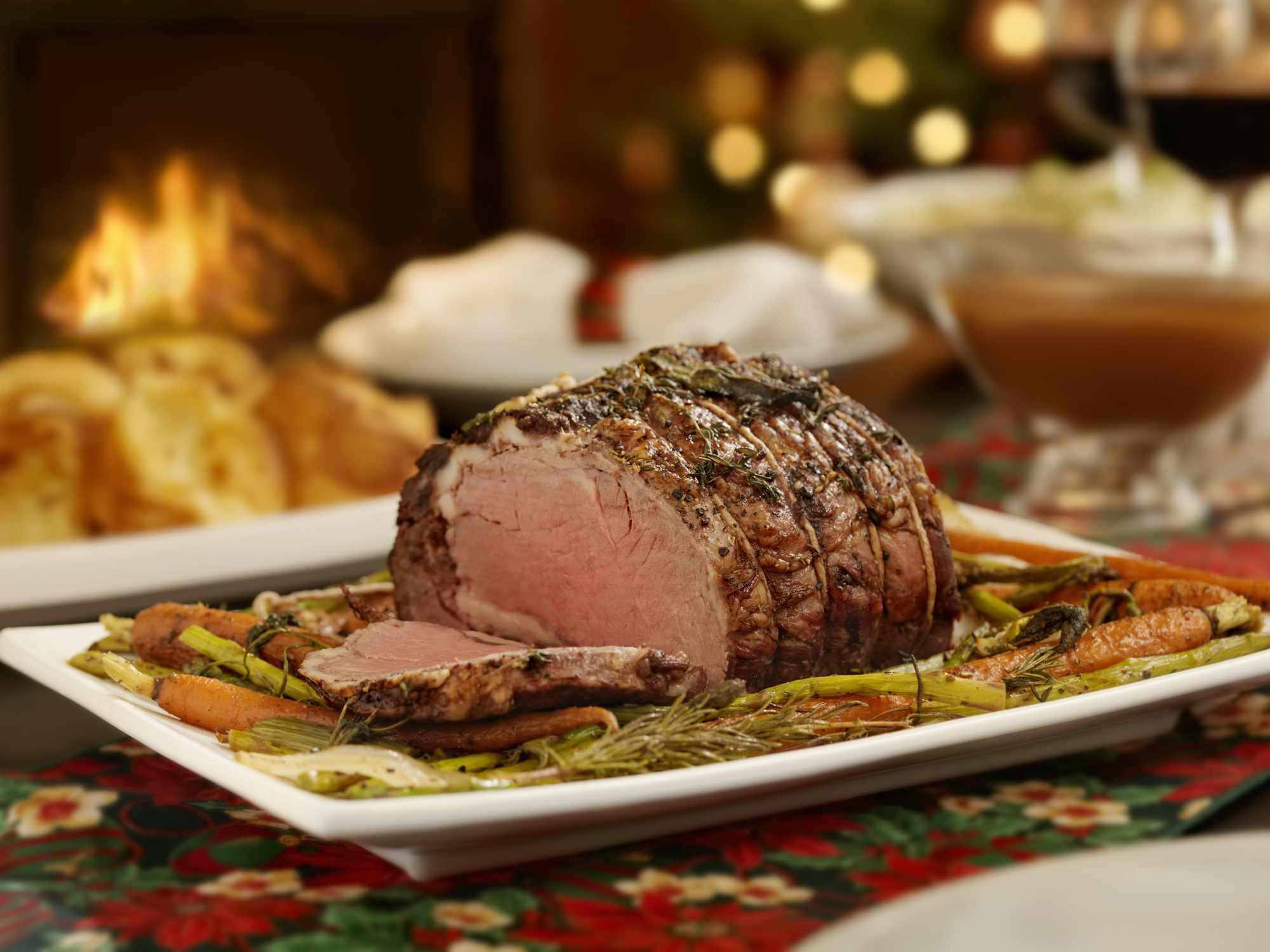 Christmas roast beef dinner