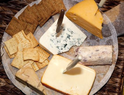 Platter of cheese and crackers