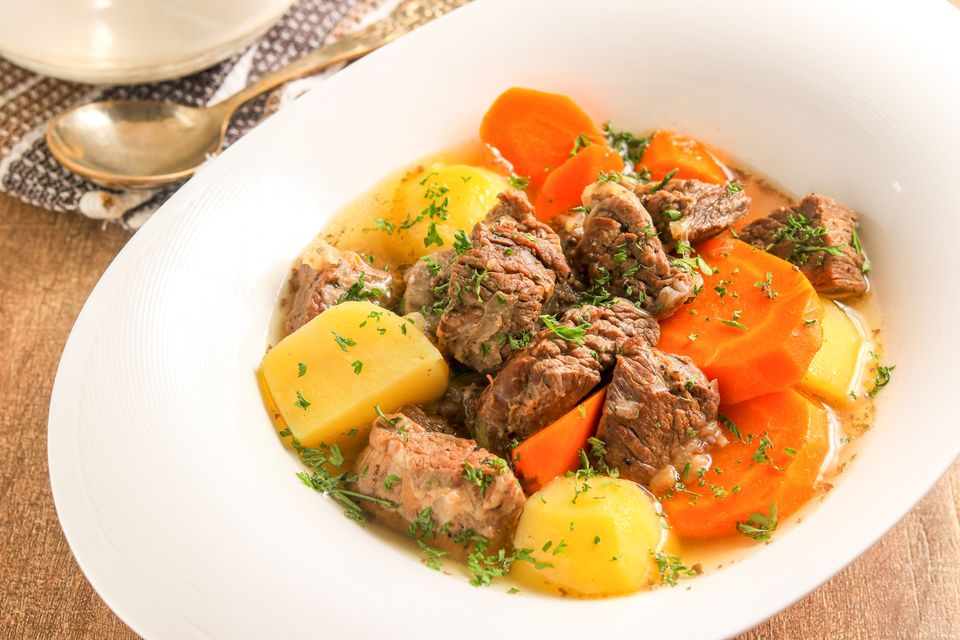 Slow cooker lamb stew in bowl